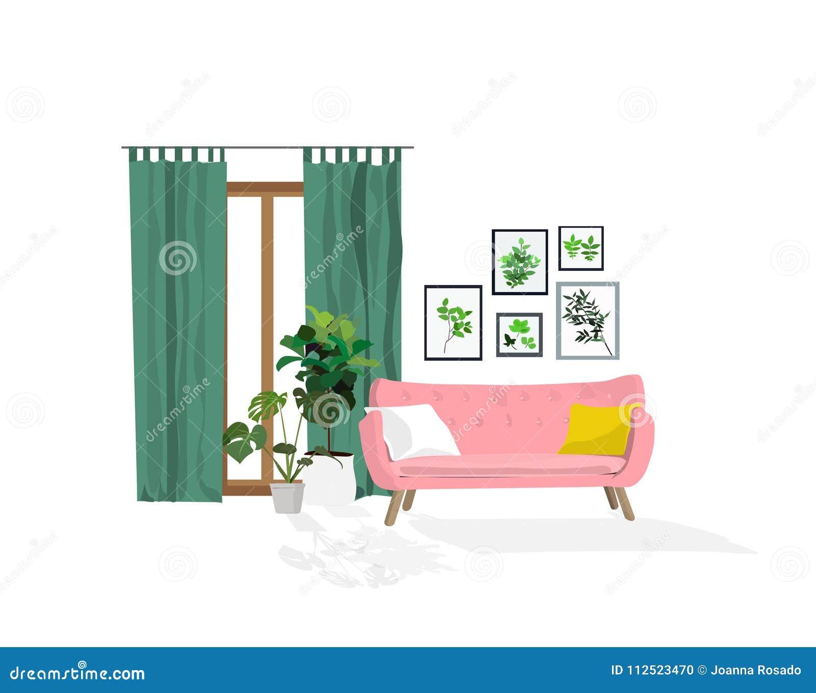 sillones contemporáneos sala de estar Ejemplo Del Diseo Interior Del Vector Decoracin Moderna De