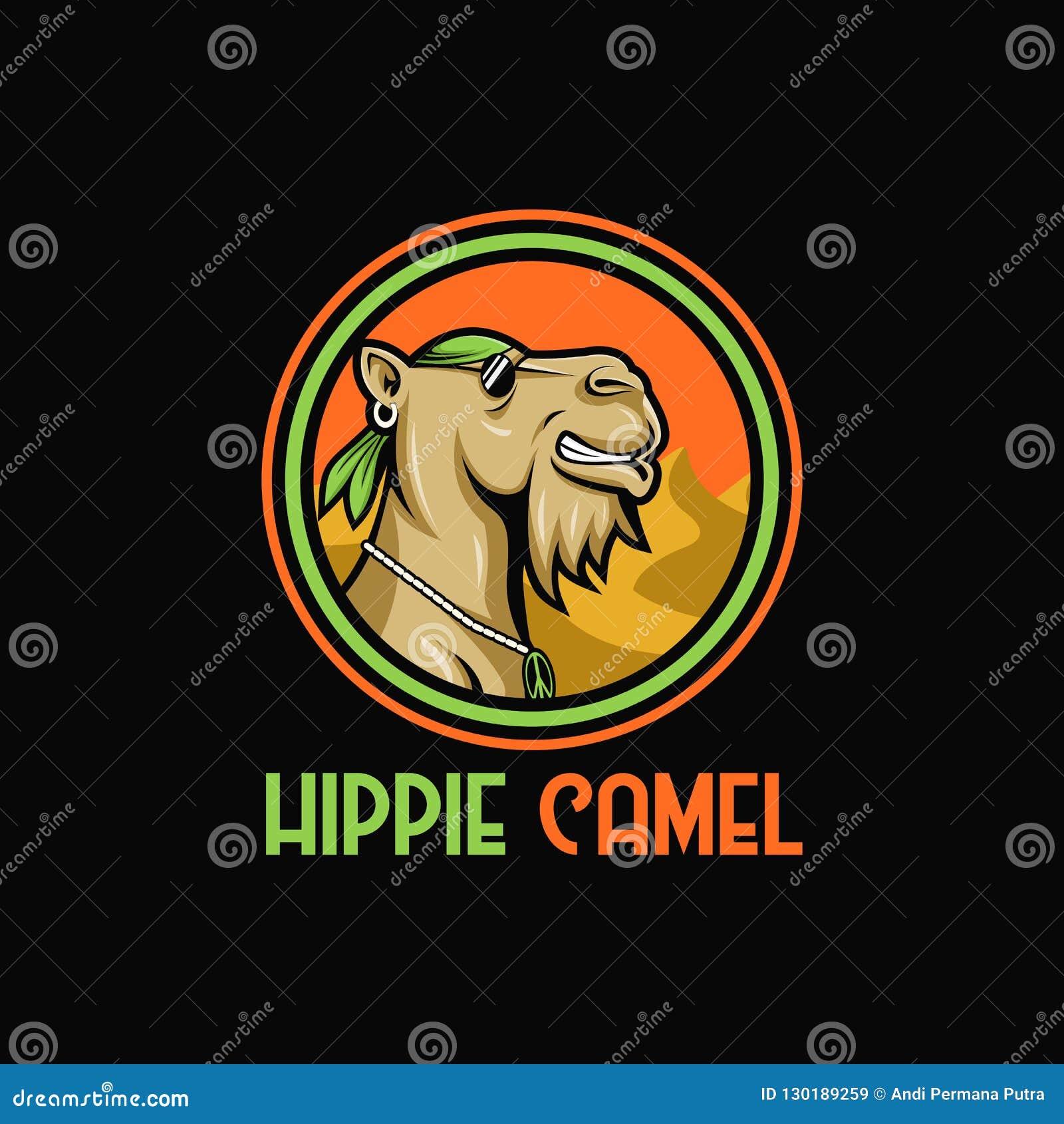 Diseño que sorprende del ejemplo del diseño del vector de la mascota del  hippie del camello para su compañía o marca 9de75038109