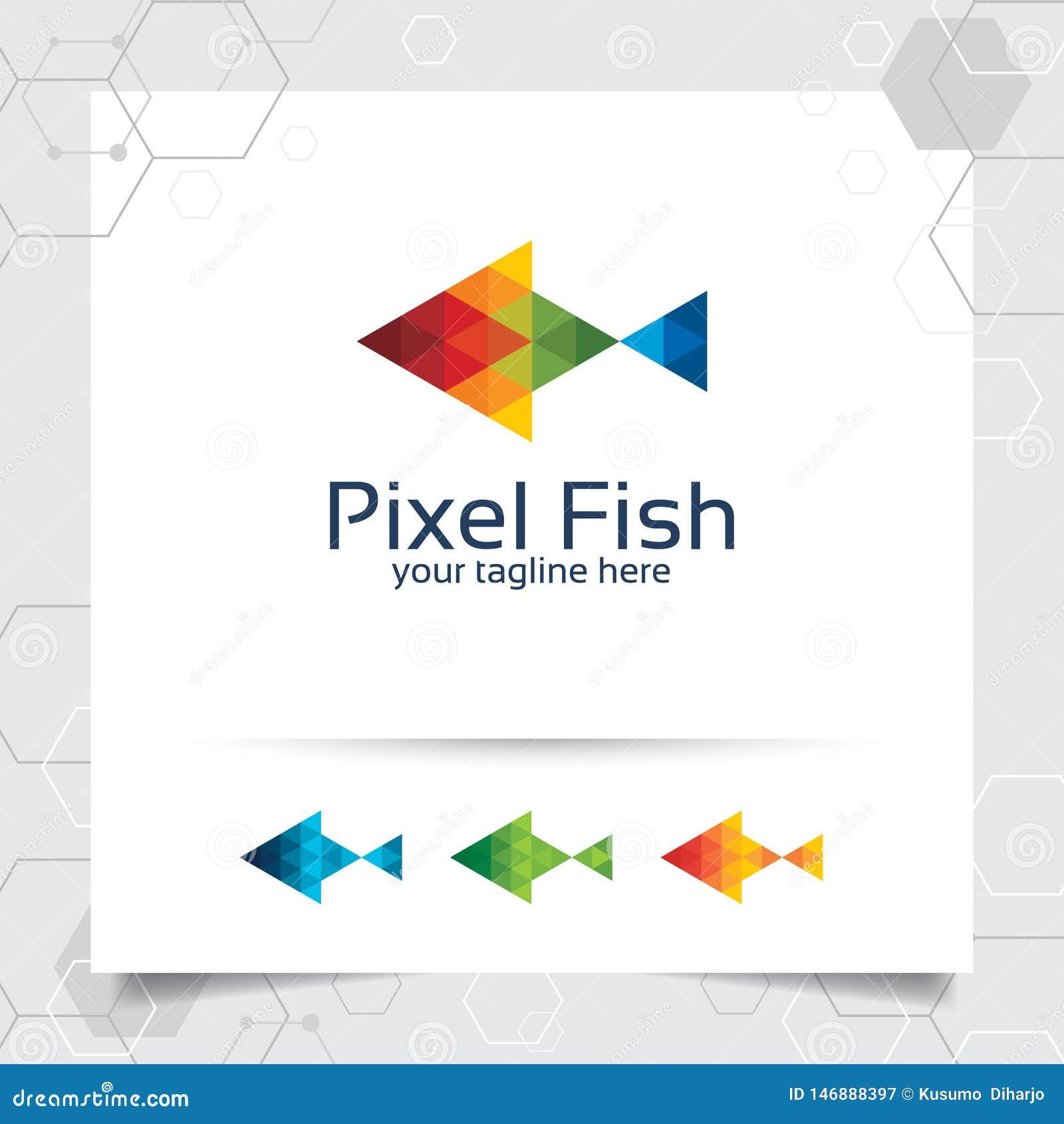 Ejemplo del diseño del vector del logotipo de la mascota de los pescados con el triángulo y el concepto coloridos del pixel vecto