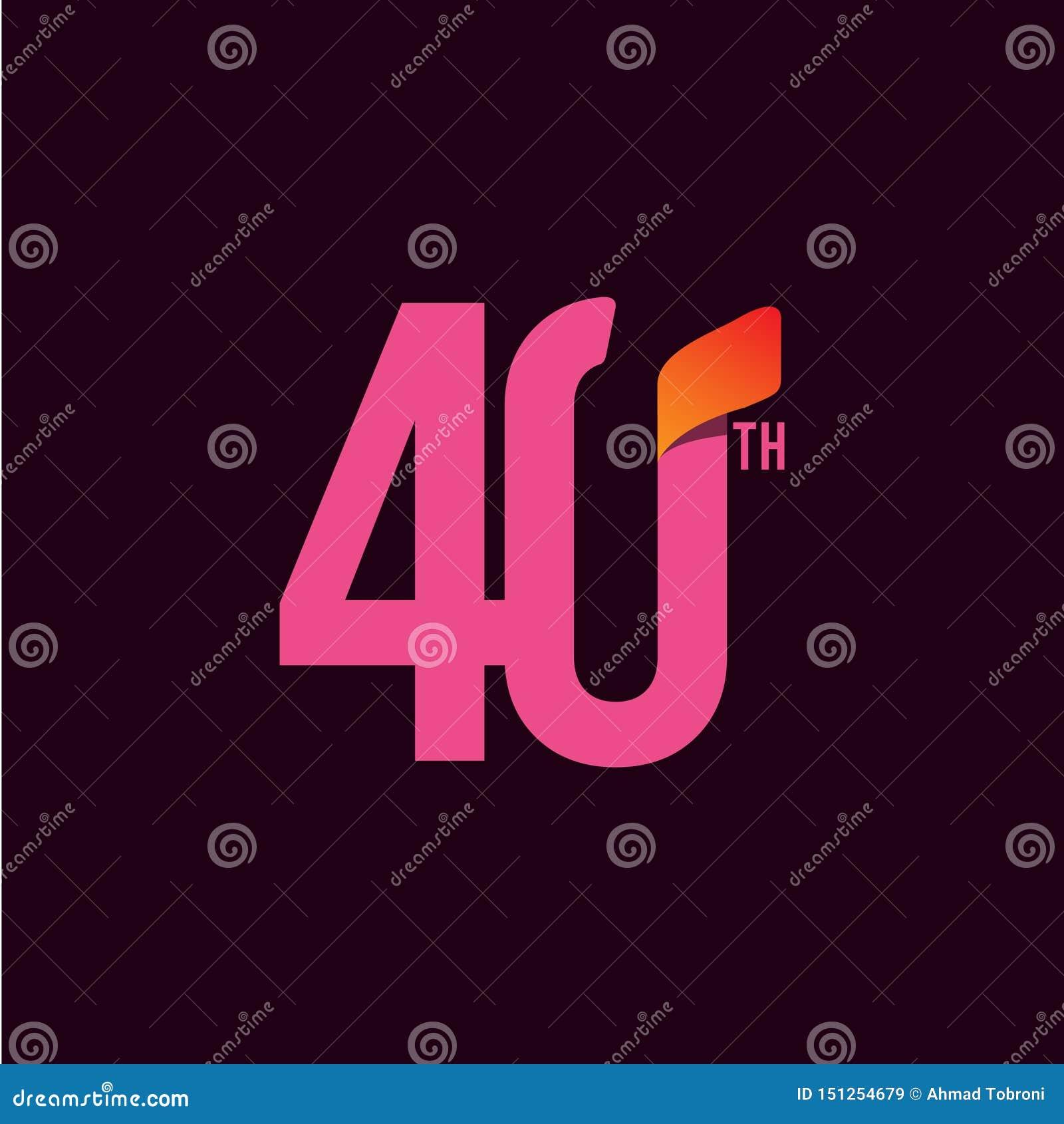 Ejemplo del dise?o de la plantilla del vector de la celebraci?n del aniversario de 40 a?os