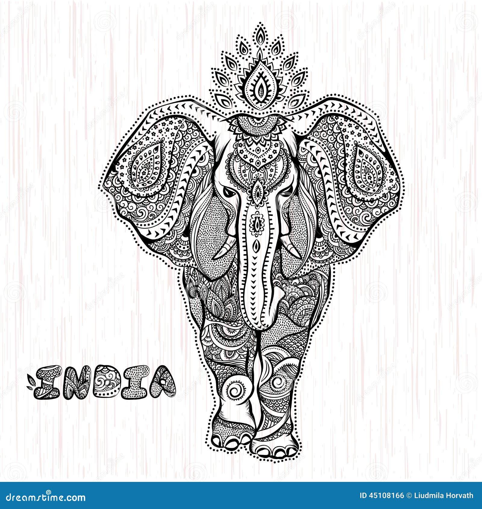 Ejemplo Del Elefante Indio Del Vintage Del Vector Ilustración Del