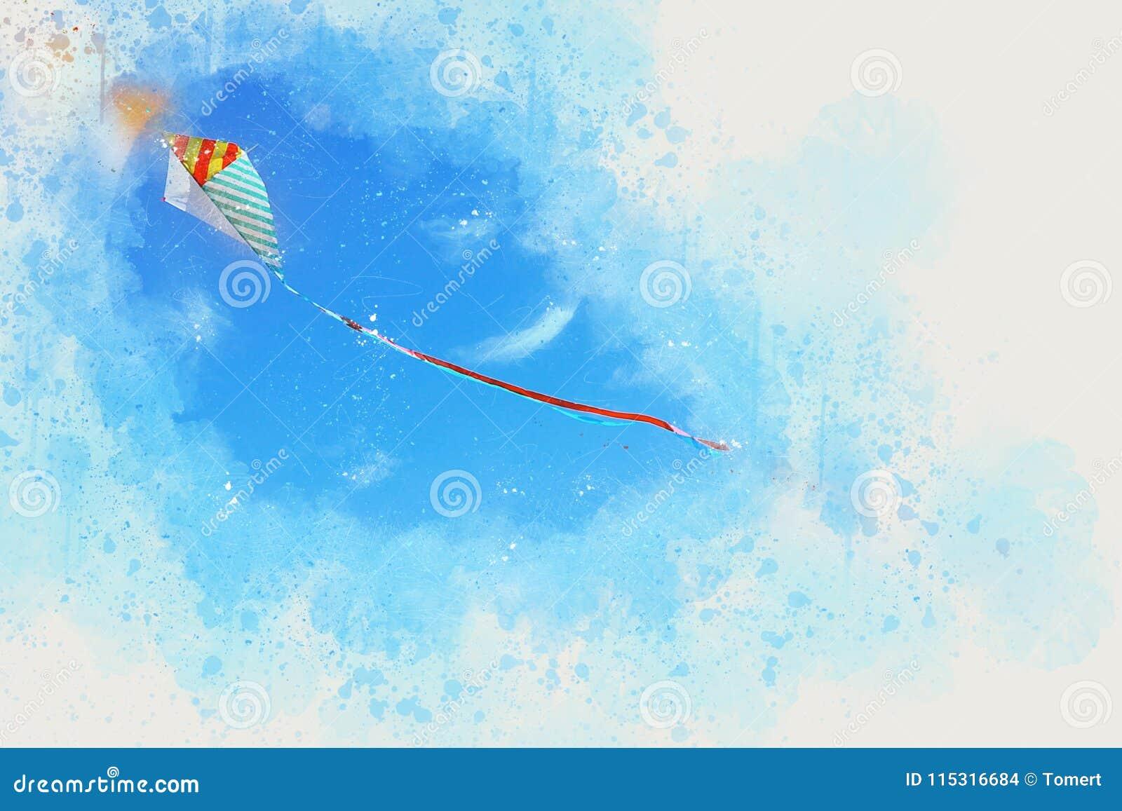 Ejemplo del extracto del estilo de la acuarela del vuelo colorido de la cometa en el cielo azul