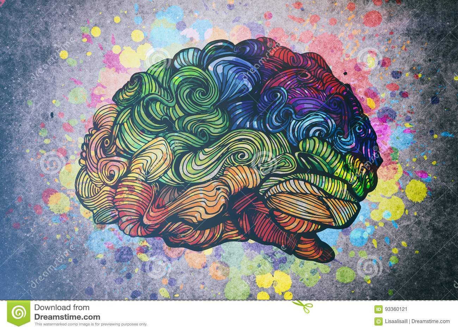 Ejemplo del garabato del cerebro con texturas