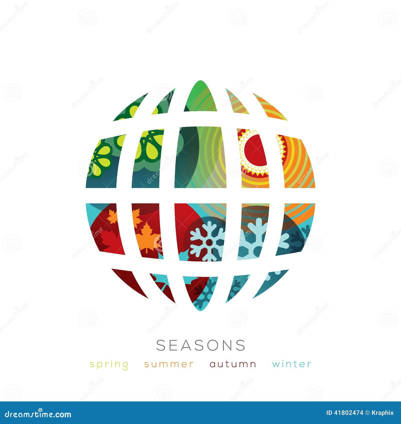 Ejemplo del globo con concepto de cuatro estaciones