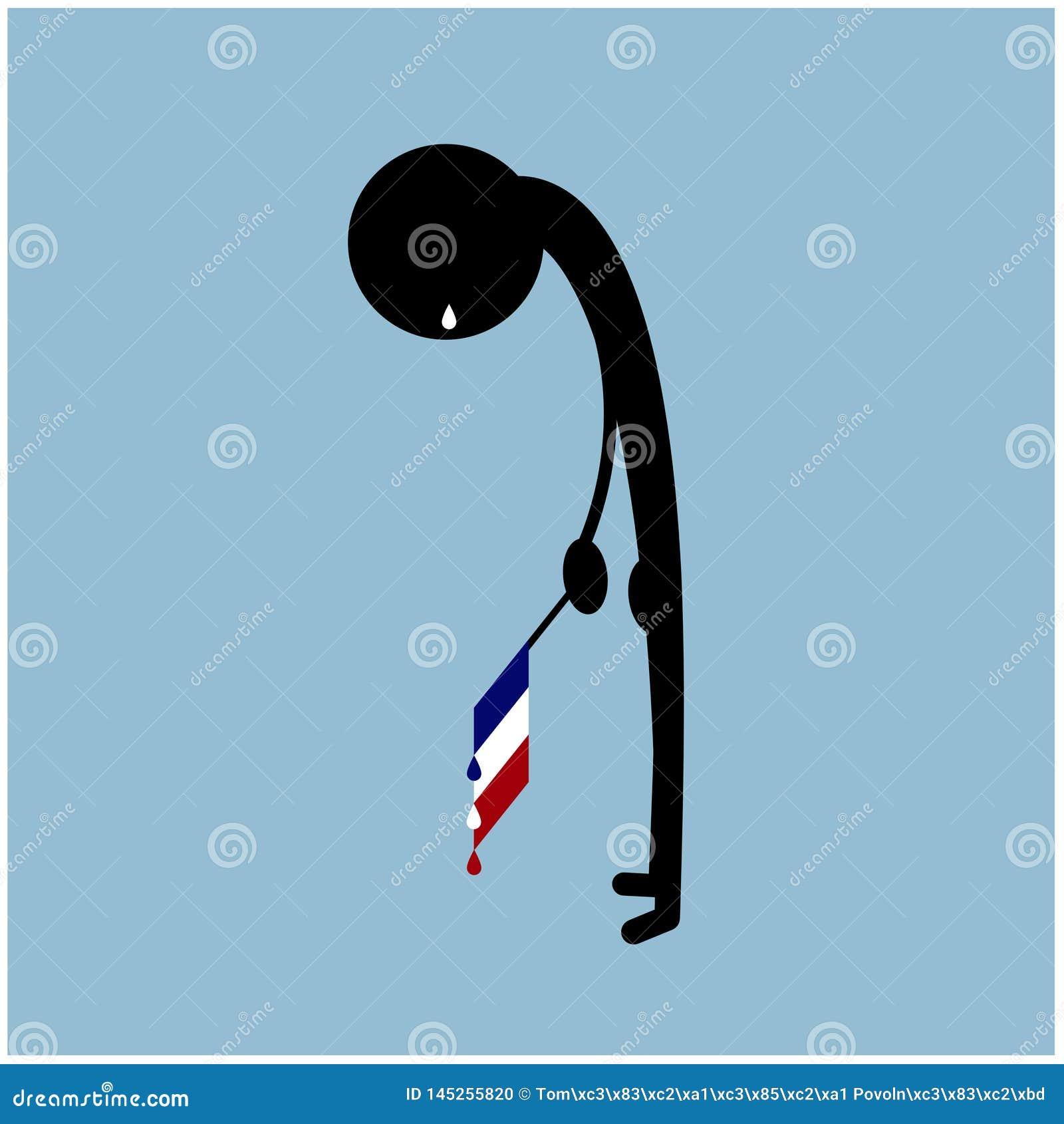 Ejemplo del grito de la silueta del hombre de la bandera de Francia