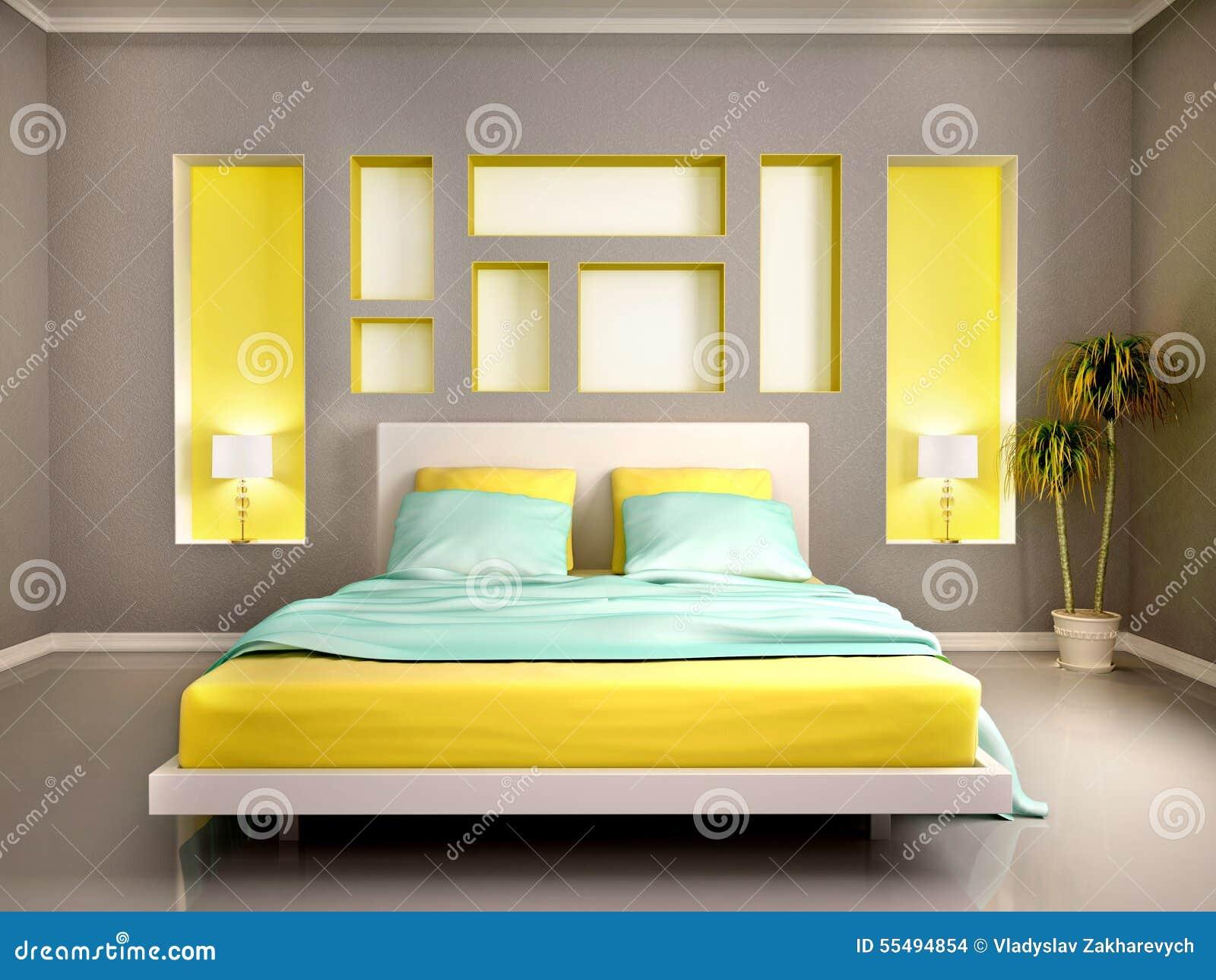 Ejemplo del interior moderno del dormitorio con la cama for Ejemplo de dormitorio deco