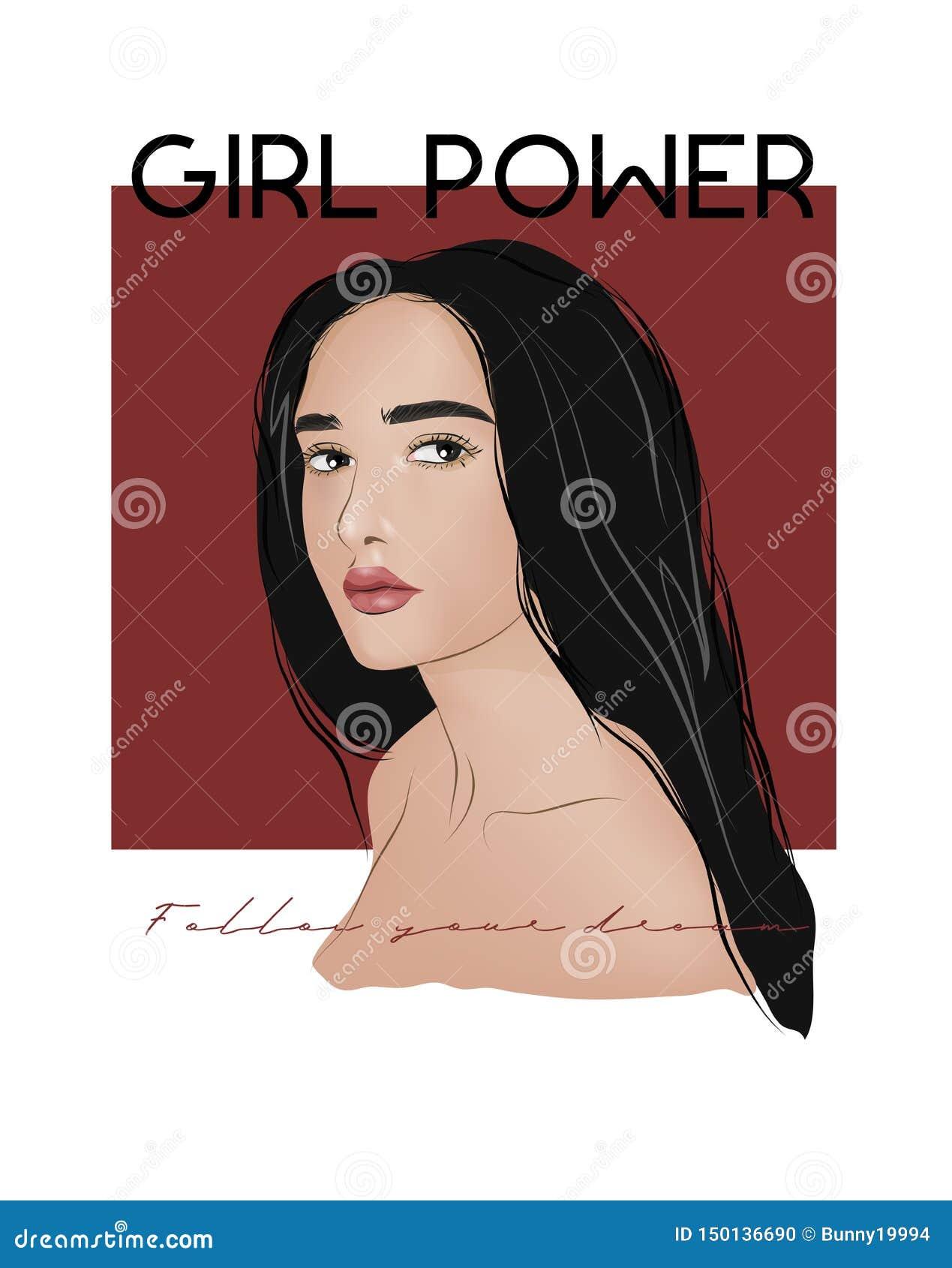 Ejemplo del lema del poder de la muchacha Perfeccione para la decoración tal como carteles, arte de la pared, bolso, impresión de