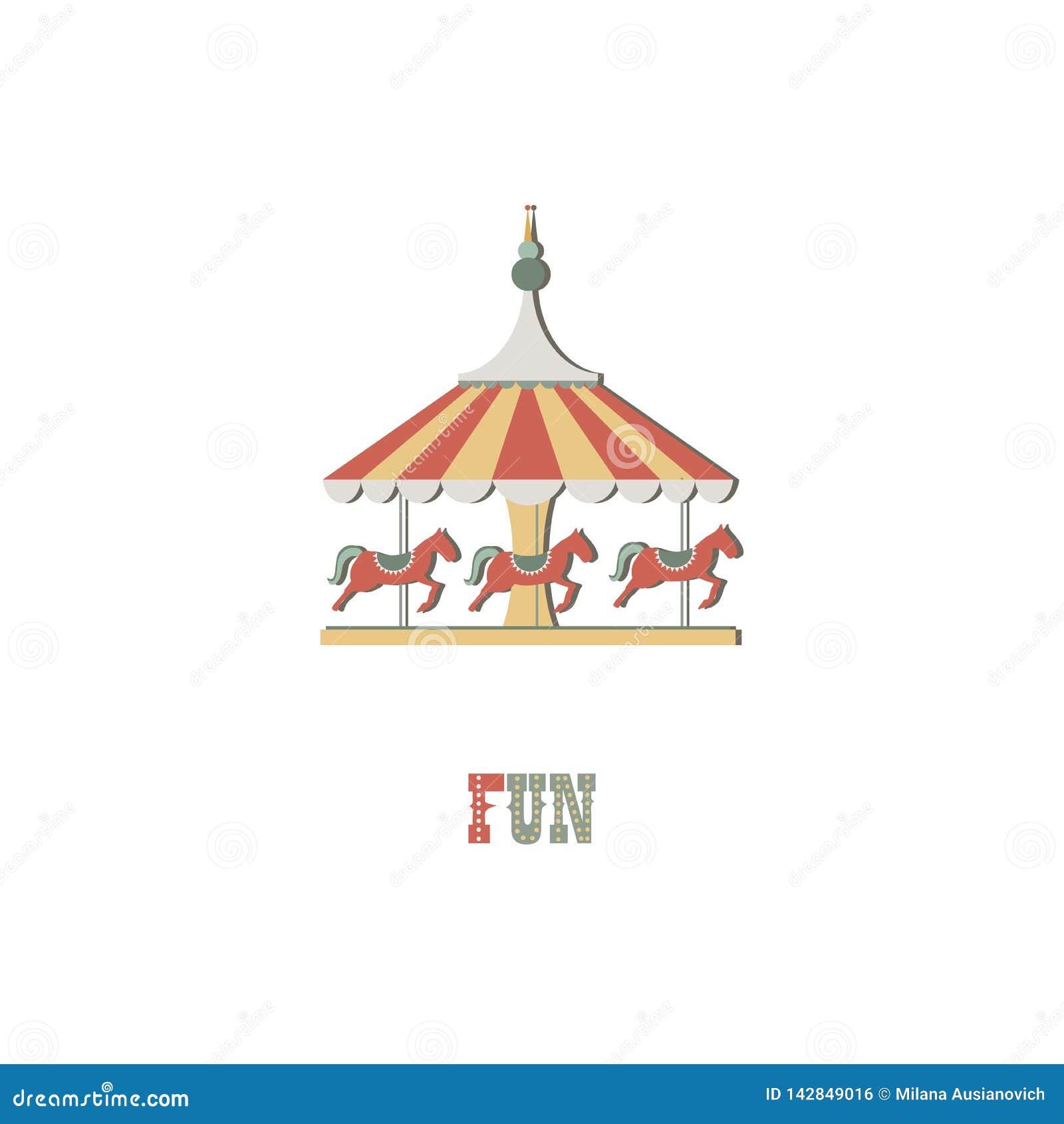 Ejemplo del logotipo Caballo del carrusel en el fondo aislado blanco