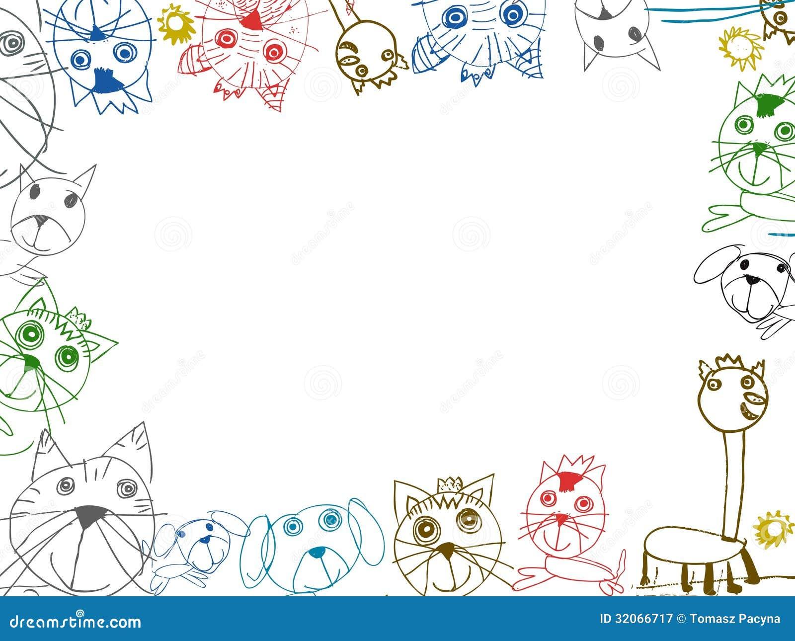 Flores Horizontales Dibujos Animados Patrón De Fondo: Ejemplo Del Marco Del Fondo De Los Dibujos De Los Niños