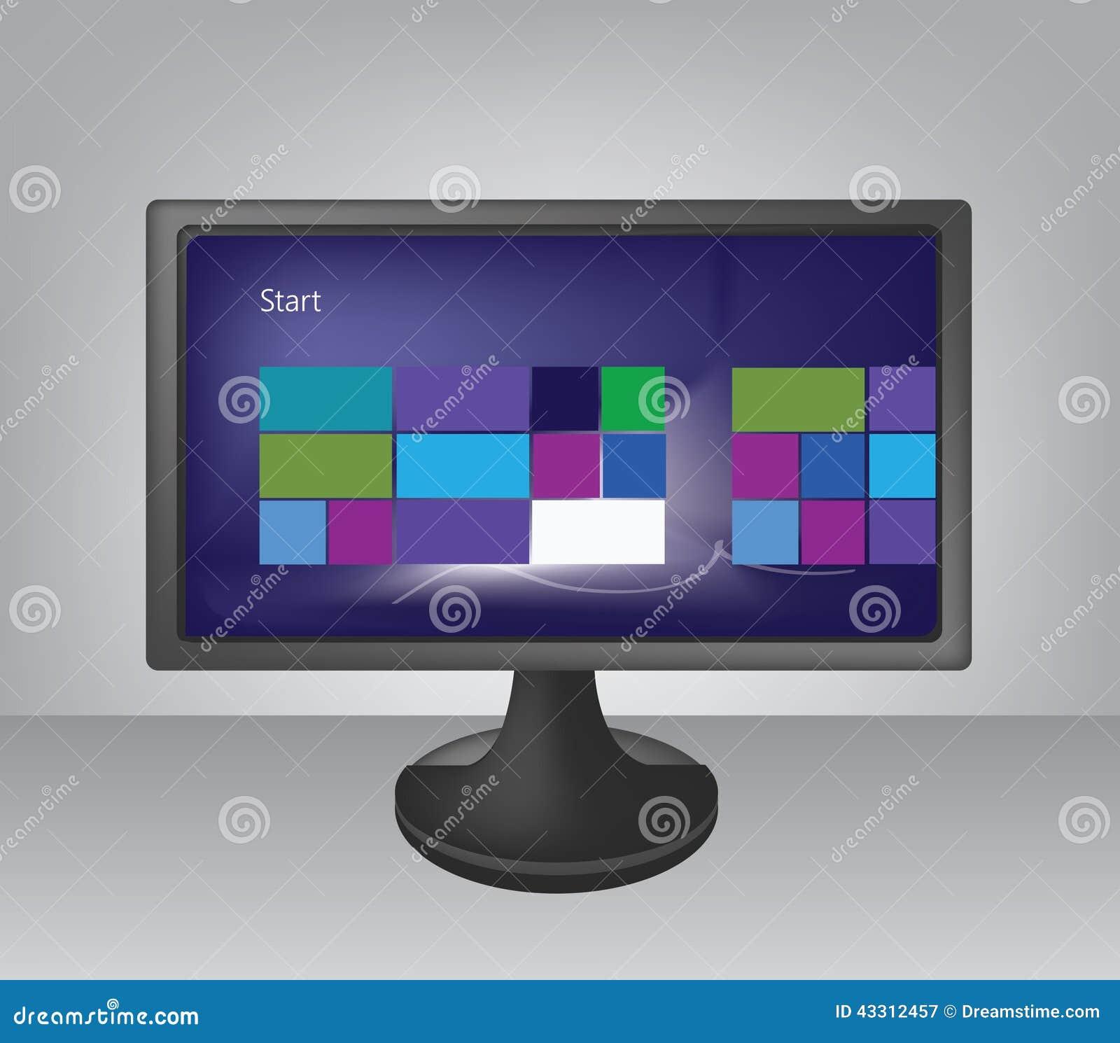 Ejemplo Del Monitor De Computadora De La Pantalla Ancha Stock de  ilustración - Ilustración de ejemplo, ancha: 43312457