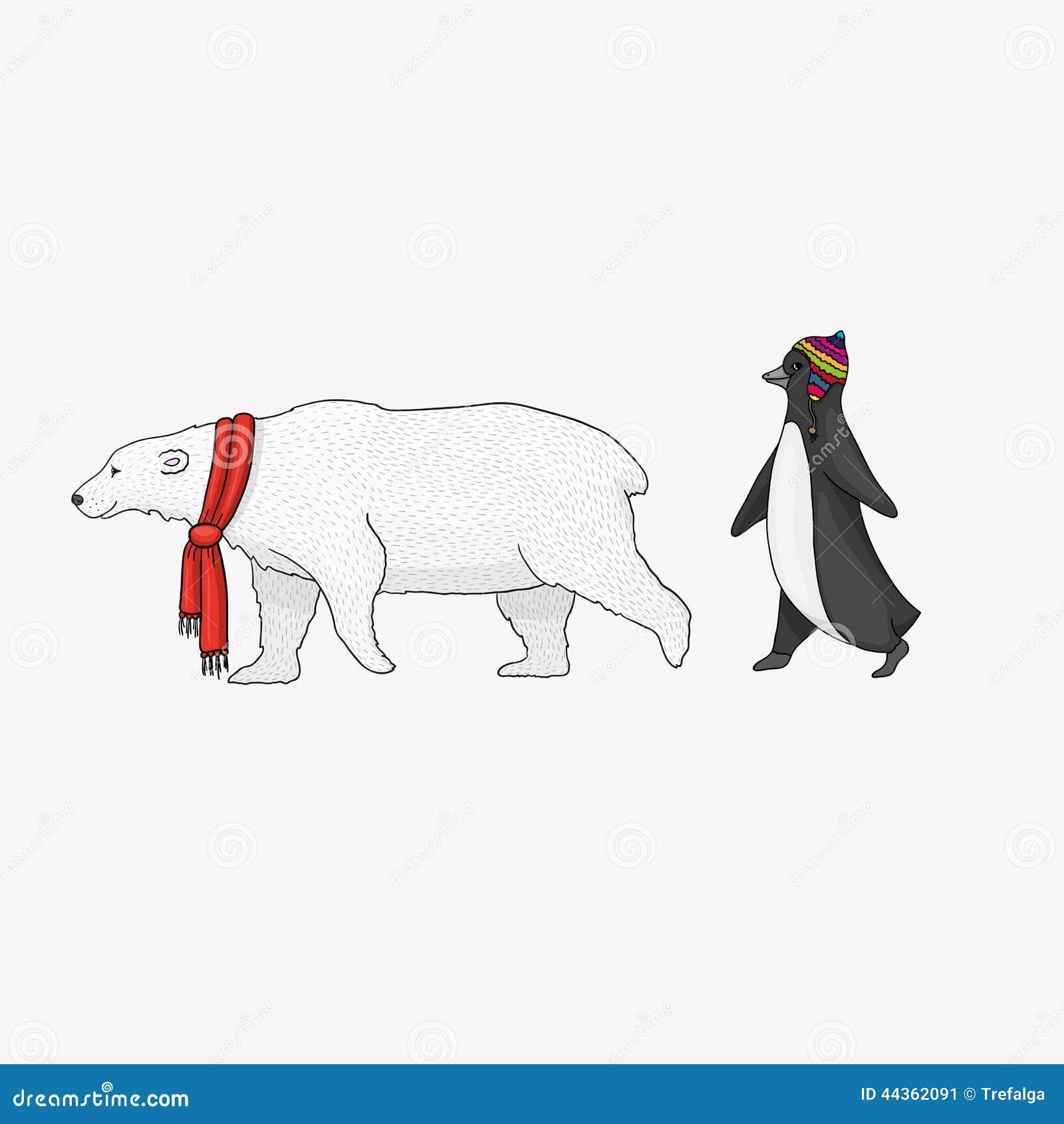 Ejemplo del oso blanco y del pingüino de la historieta