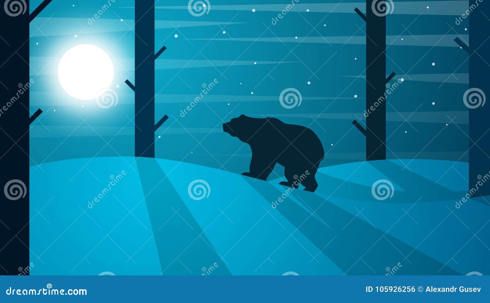 Ejemplo del oso de la historieta Paisaje del invierno Árbol, sol, rana