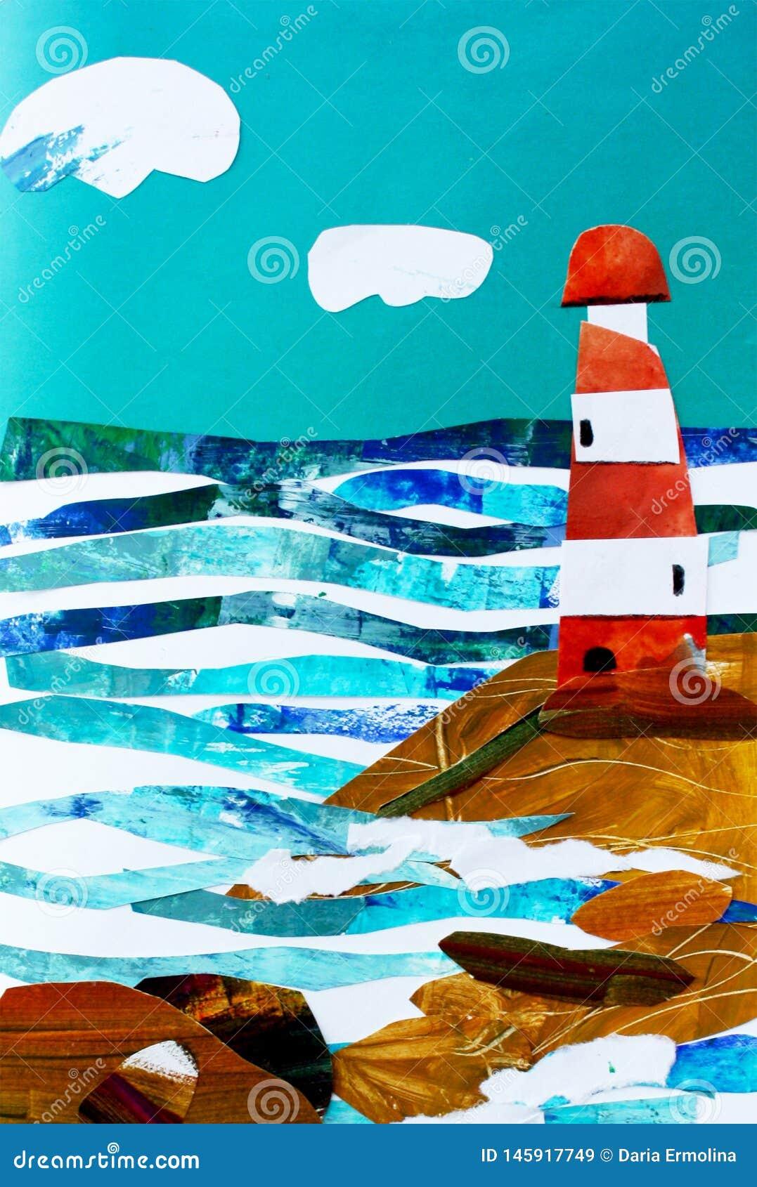 Ejemplo del paisaje marino con el faro