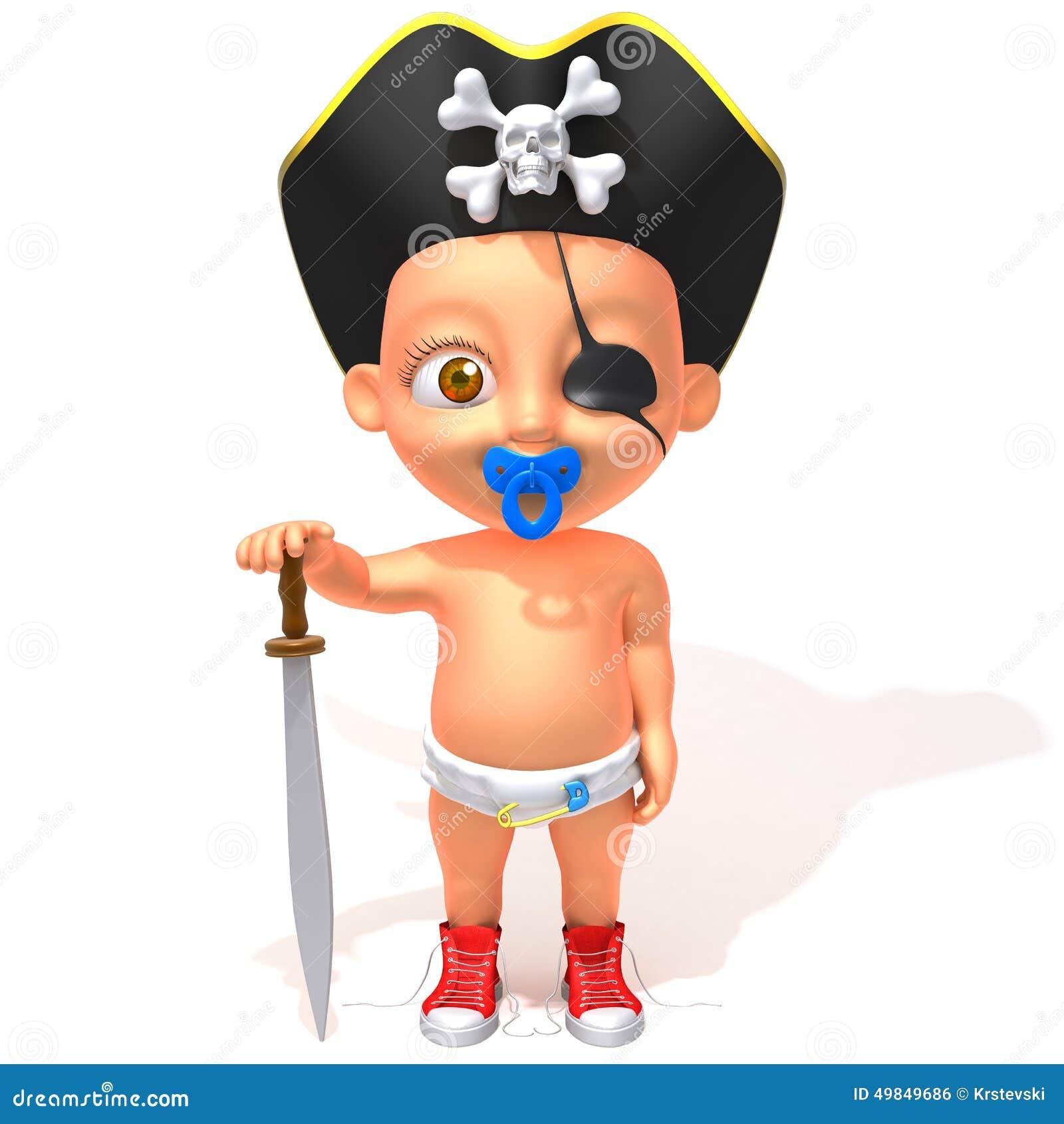 Ejemplo del pirata 3d de Jake del bebé