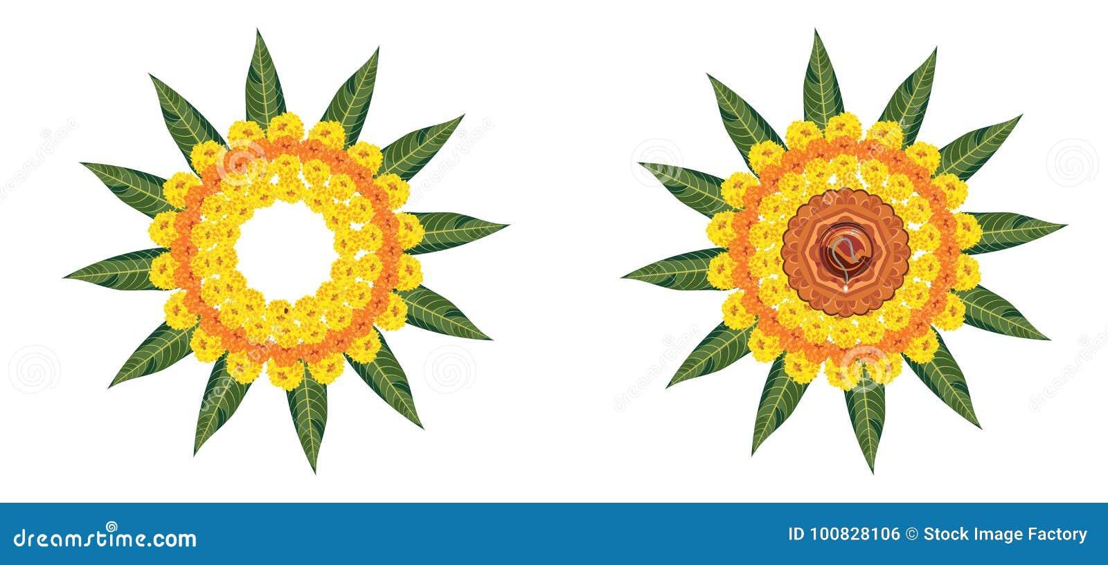 Ejemplo del rangoli de la flor para Diwali o pongal común u onam hecho usando las flores de la maravilla o del zendu y los pétalo
