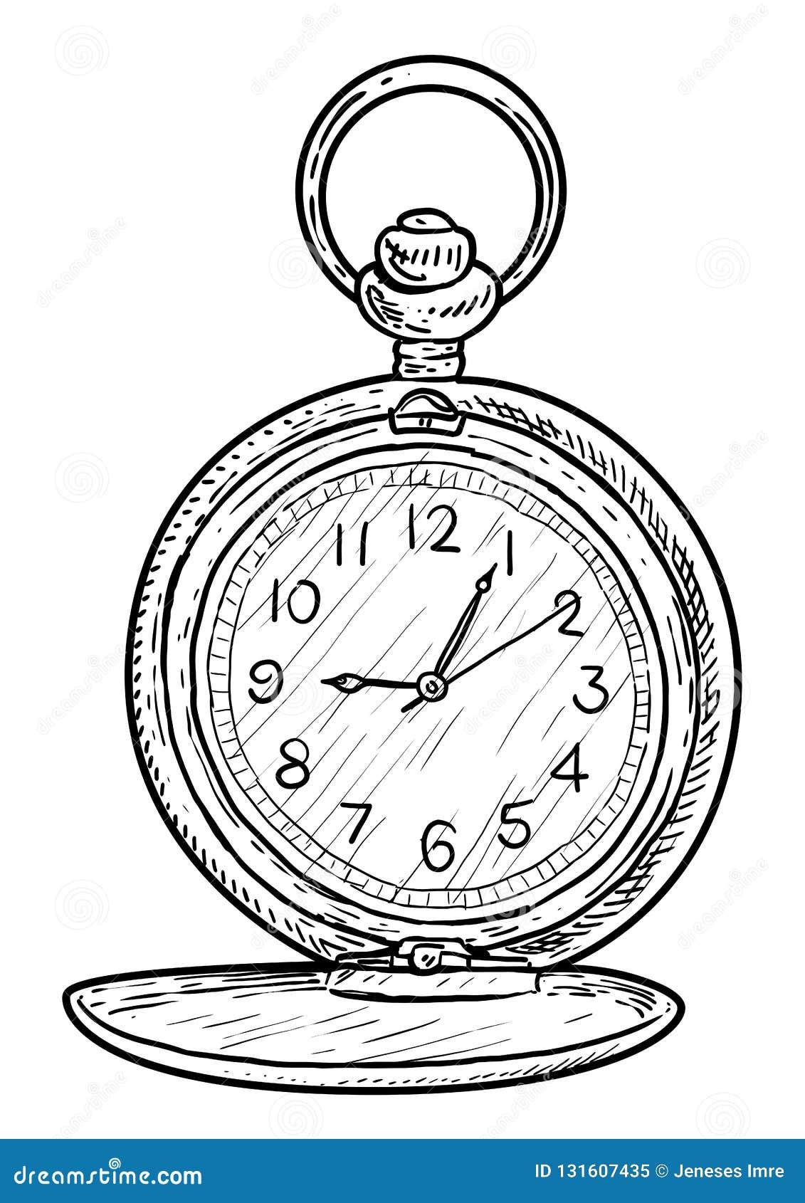 Ejemplo Del Reloj Del Bolsillo Dibujo Grabado Tinta Línea Arte Vector Ilustración Del Vector Ilustración De Envejecido Negro 131607435