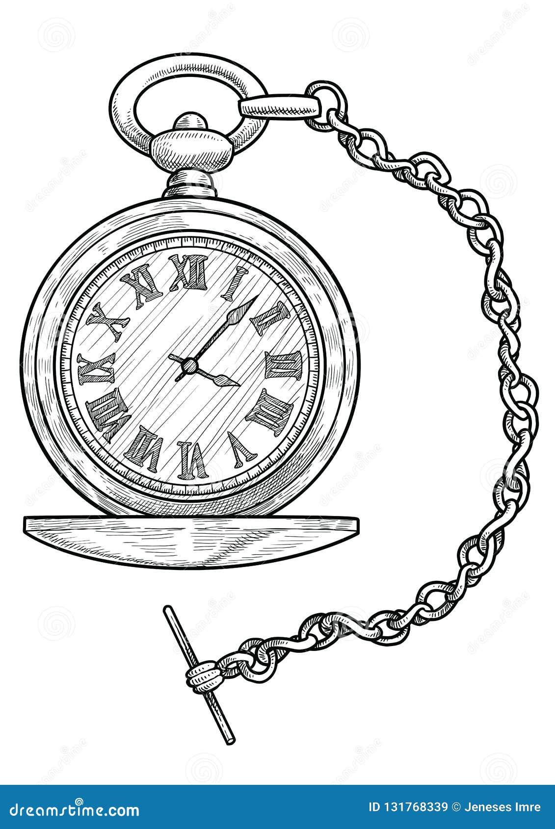 Ejemplo Del Reloj De Bolsillo Dibujo Grabado Tinta Línea Arte Vector Ilustración Del Vector Ilustración De Retro Corte 131768339