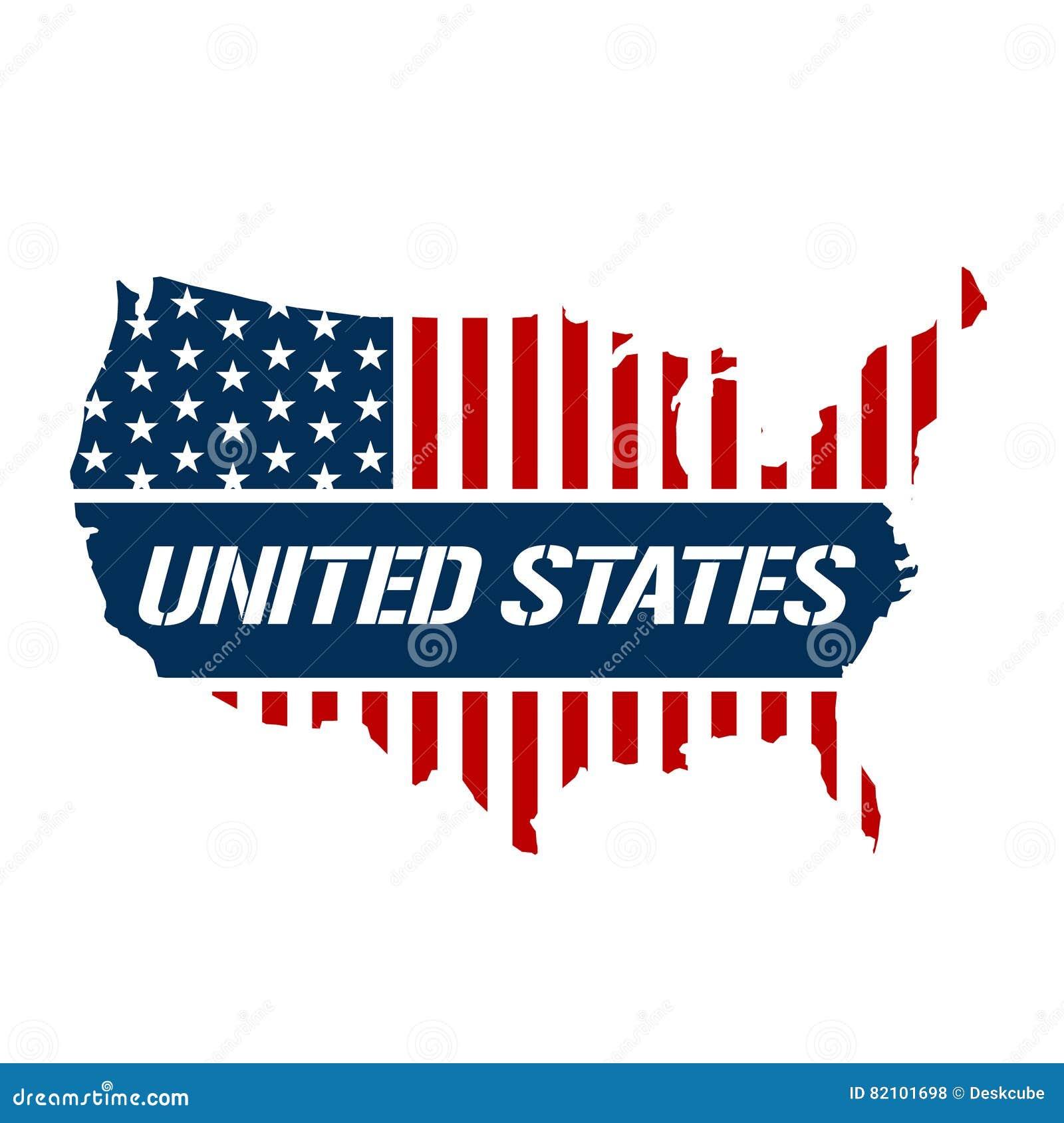 Ejemplo del rojo de Estados Unidos, azul y blanco del mapa