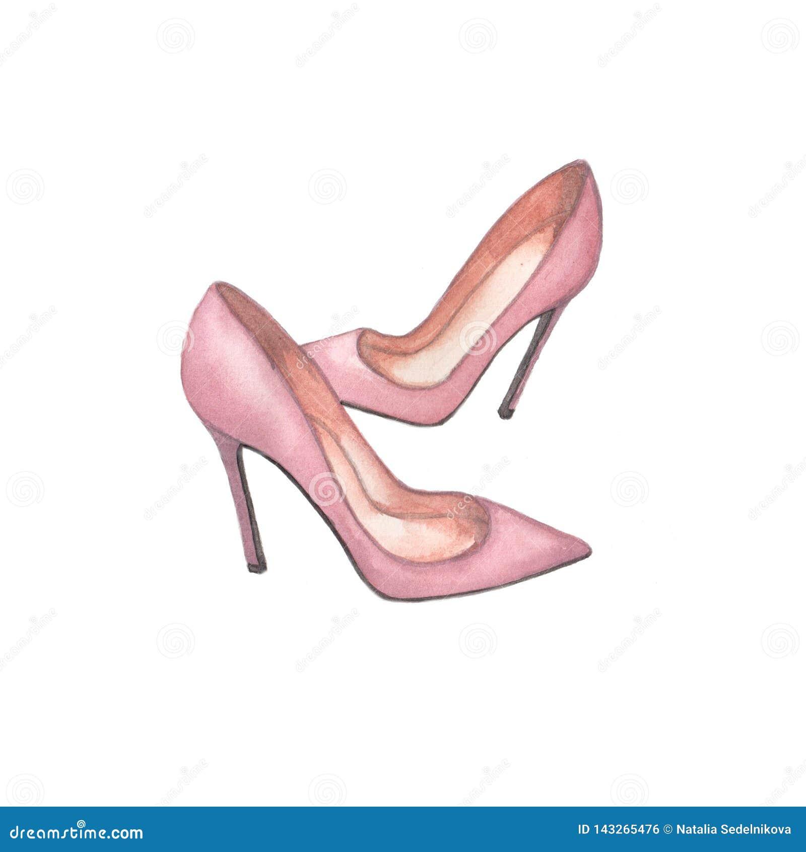 Ejemplo del rosa de los zapatos de la acuarela en el fondo blanco