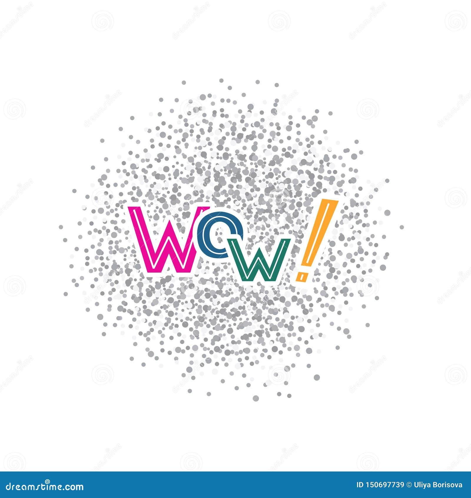 Ejemplo del vector con la frase manuscrita - wow deletreado
