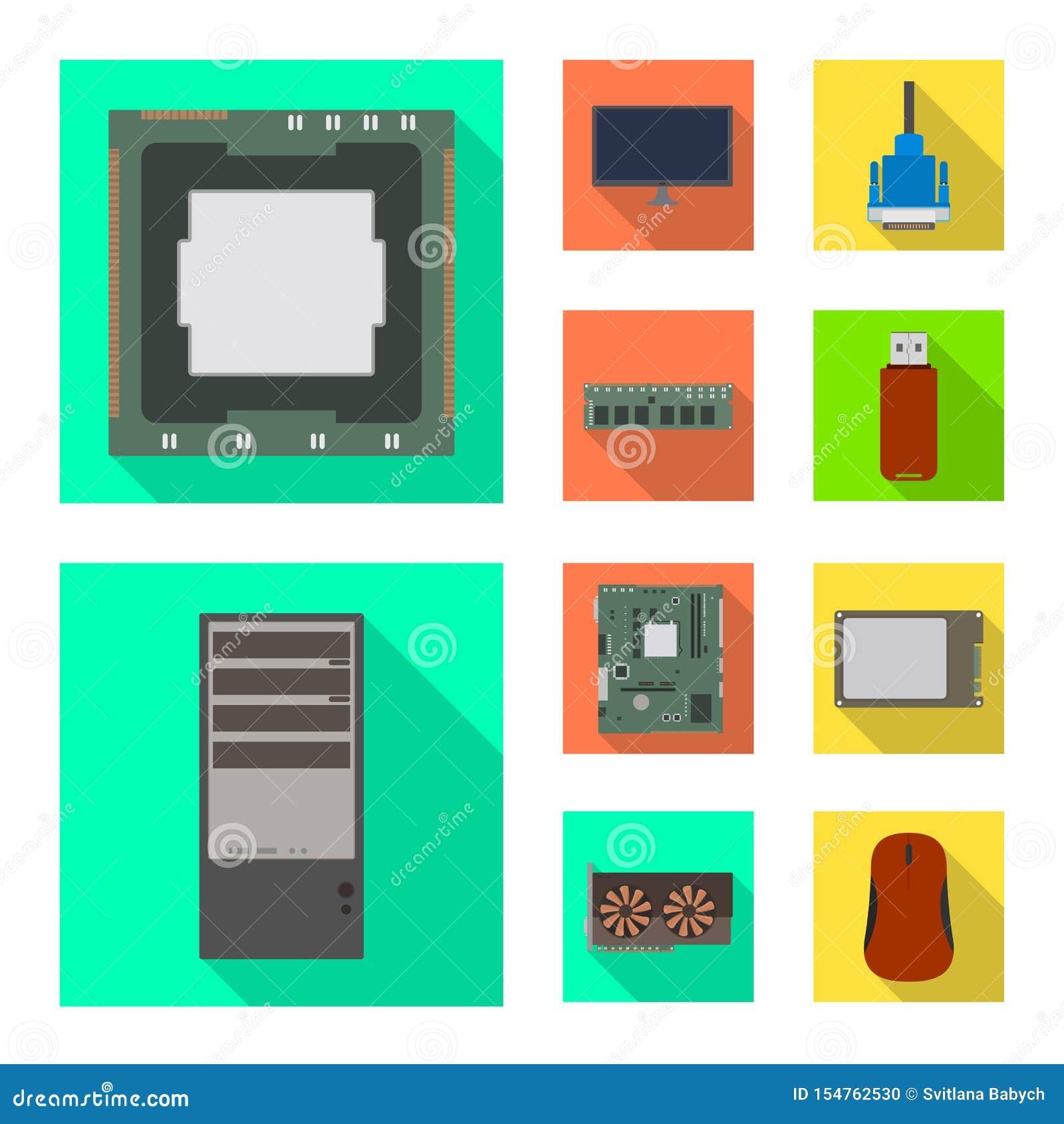 Ejemplo del vector de accesorios y del logotipo del dispositivo Fije de accesorios y del símbolo común de la electrónica para la