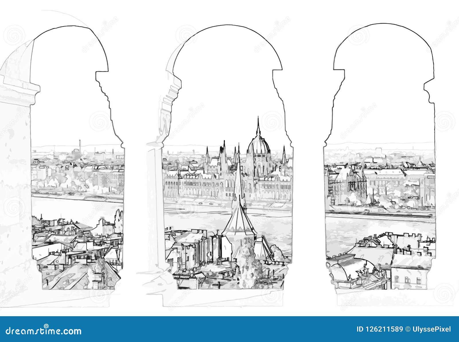 Ejemplo del vector de Budapest y del parlamento húngaro