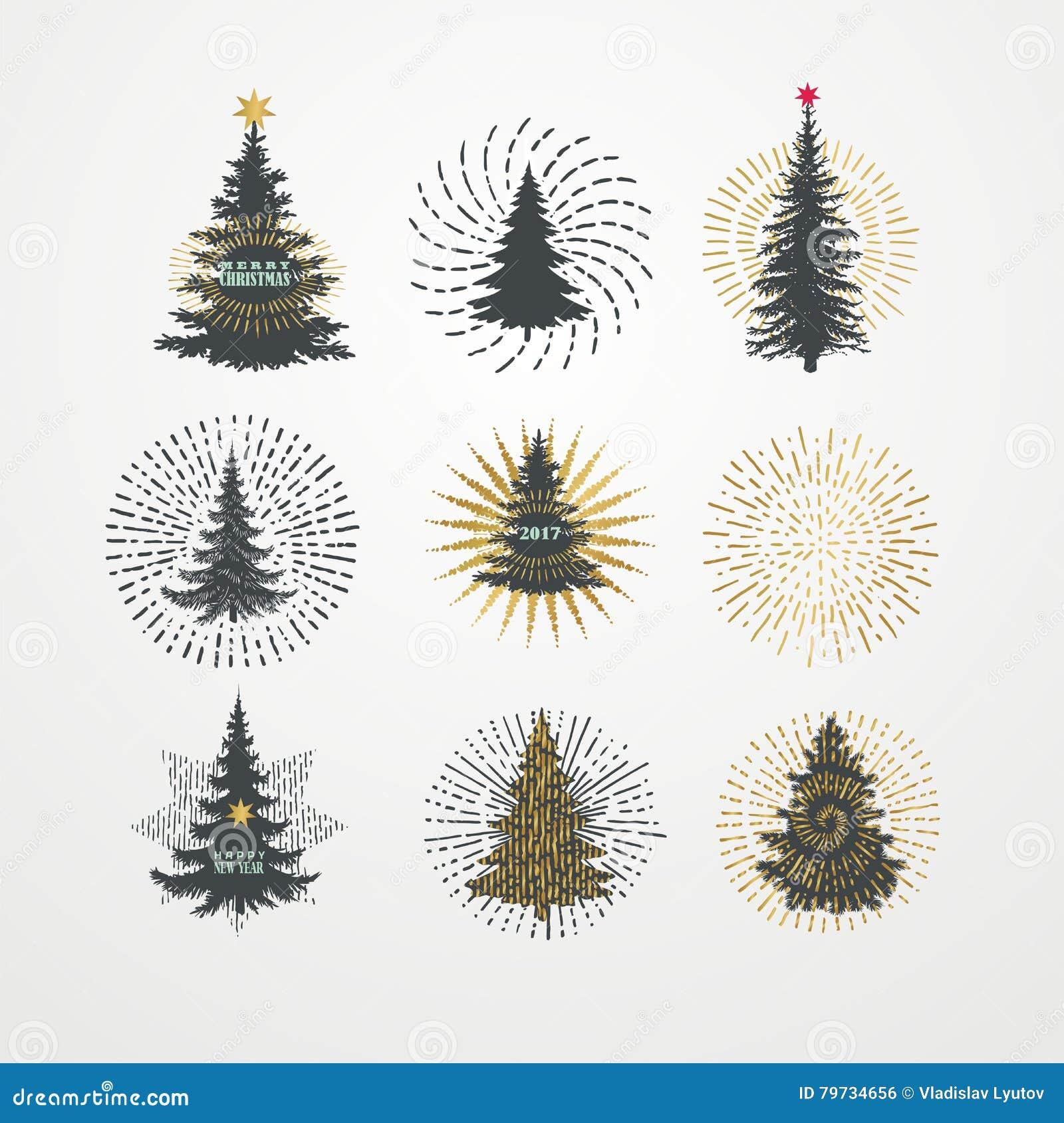 Ejemplo del vector de diversos árboles de navidad con el starburst