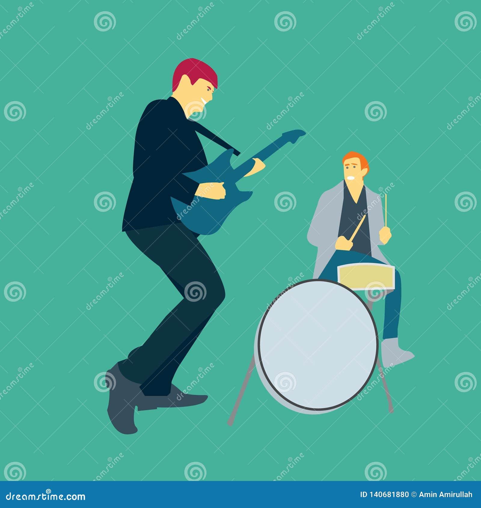 Ejemplo del vector de dos hombres que juegan música con las guitarras y los tambores