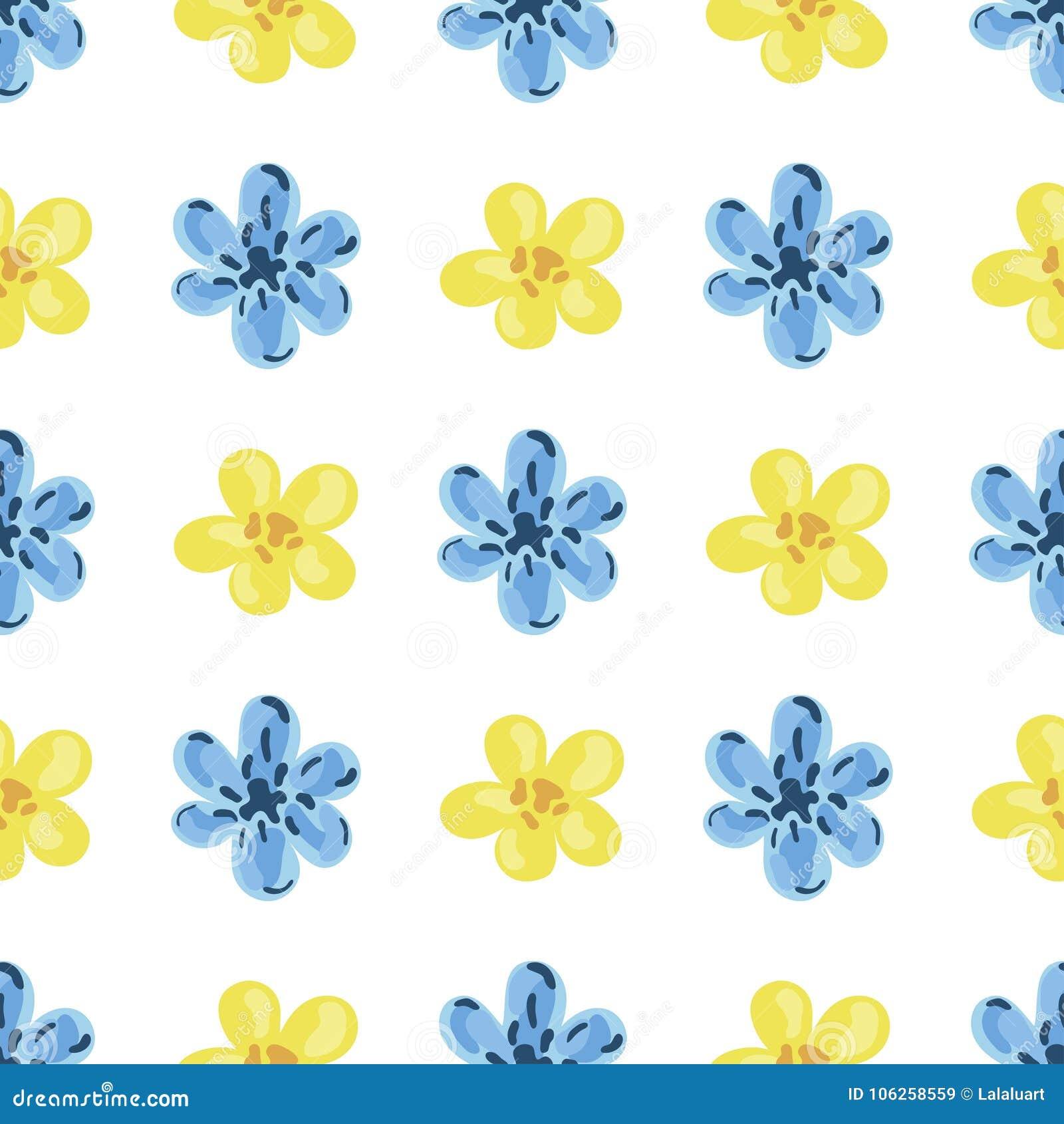 Ejemplo Del Vector De Flores Azules Y Amarillas Ilustracion Del