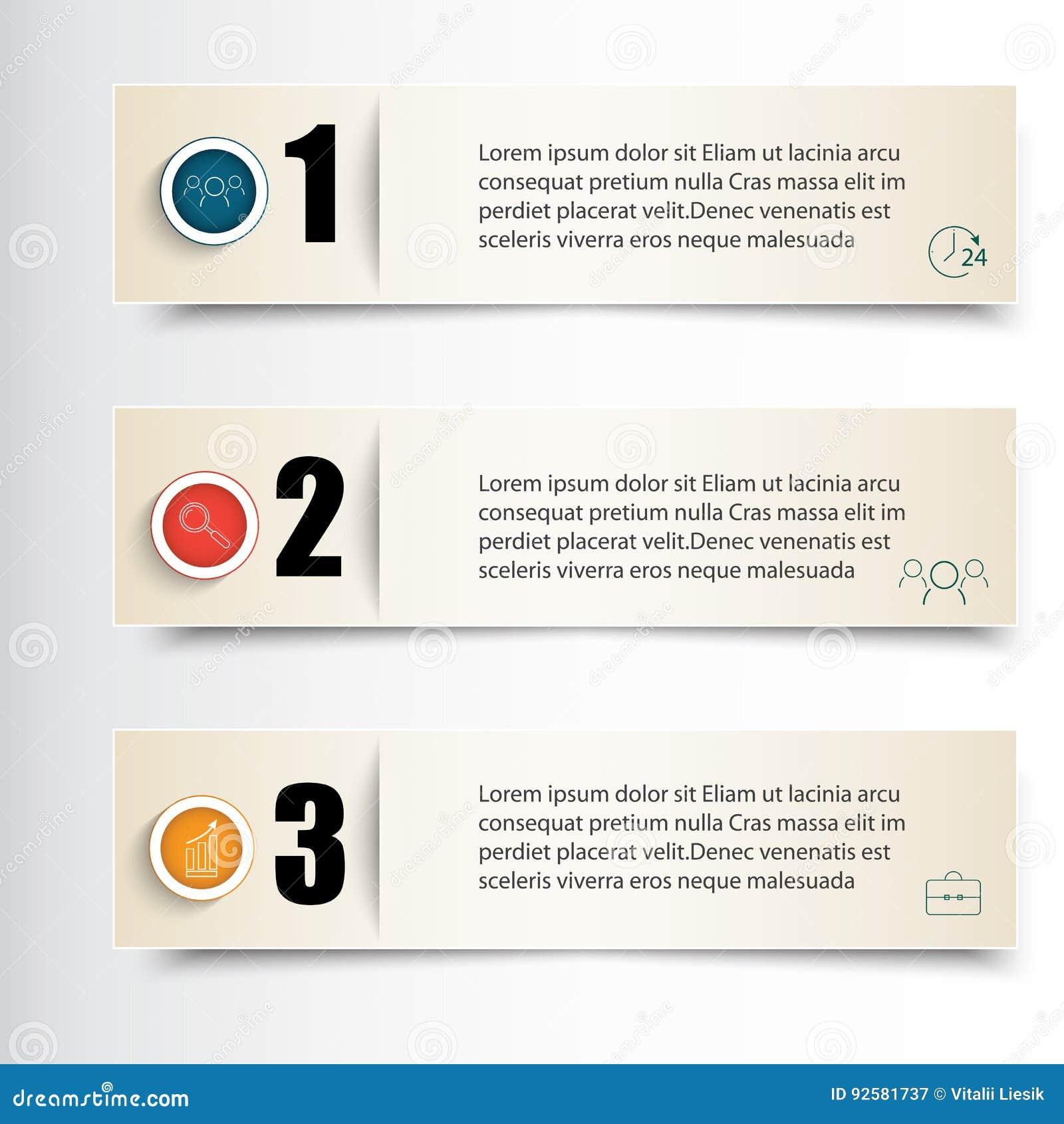 Ejemplo del vector de Infographics Sistema de tres banderas para infographic