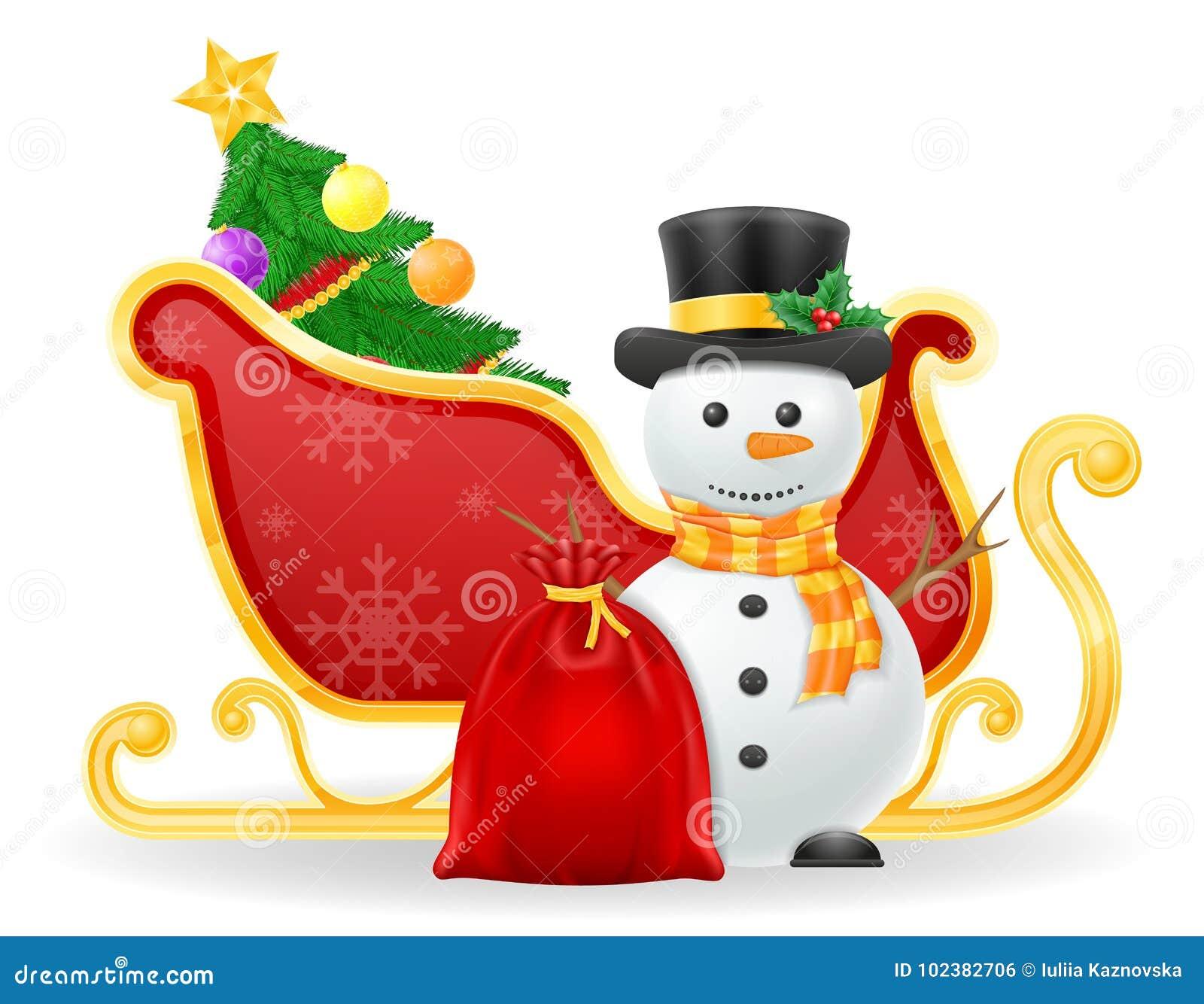 Ejemplo del vector de la acción del trineo de Papá Noel de la Navidad