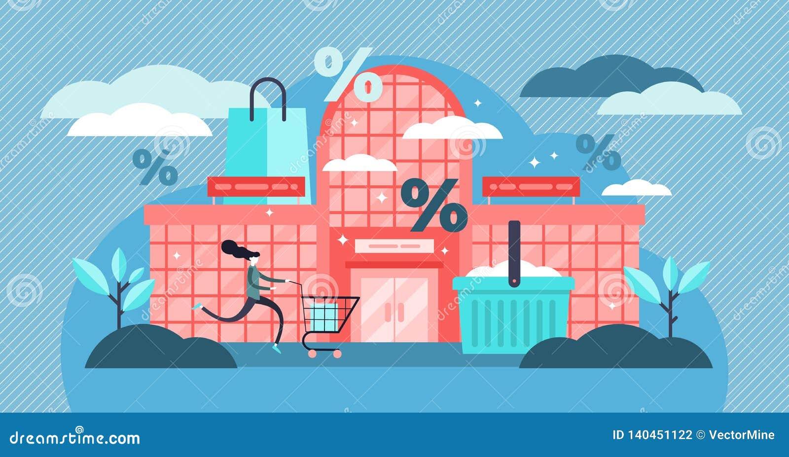 Ejemplo del vector de la alameda de compras Concepto minúsculo plano de la compra del descuento de las personas