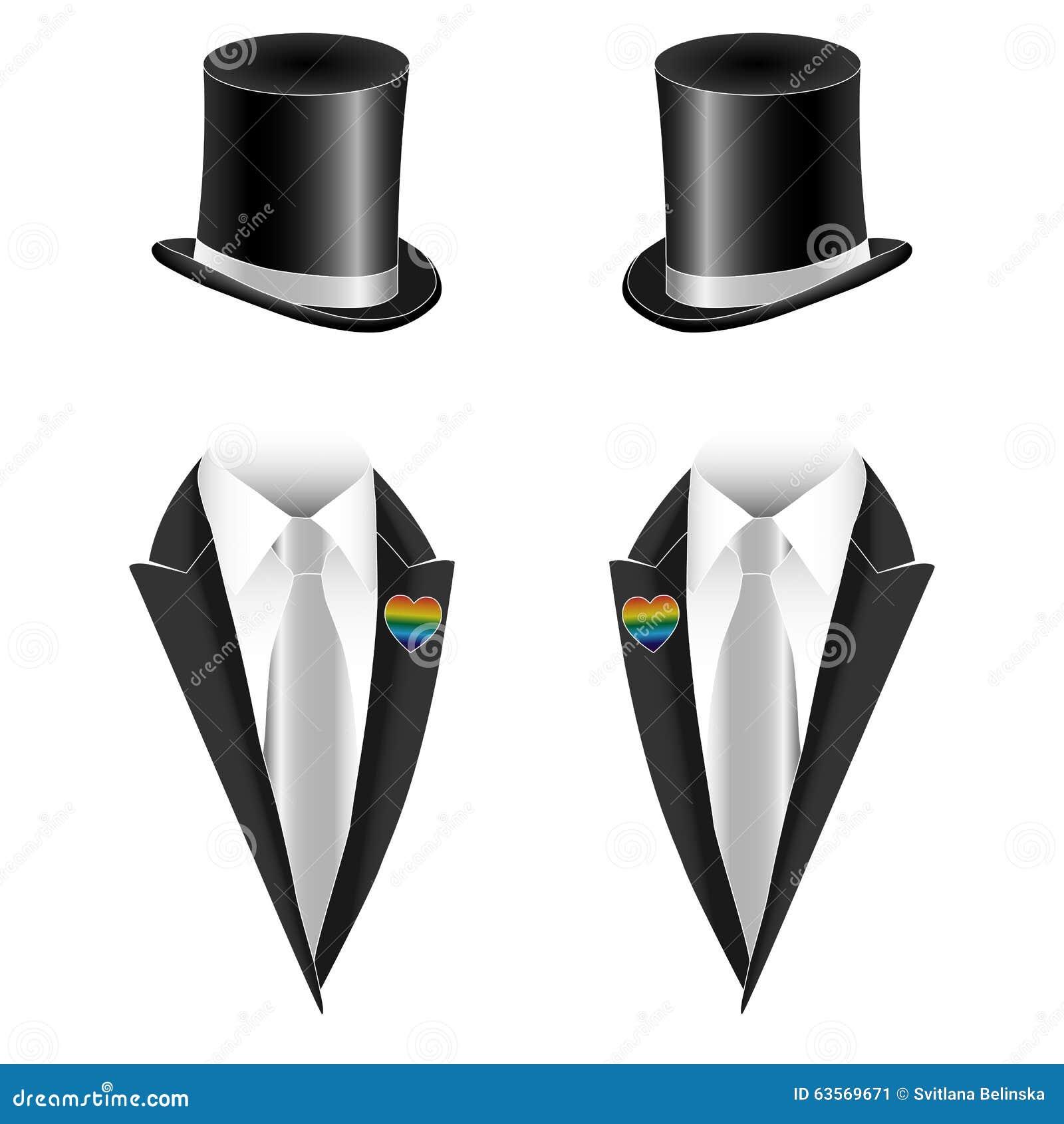 Ejemplo del vector de la boda gay de los pares