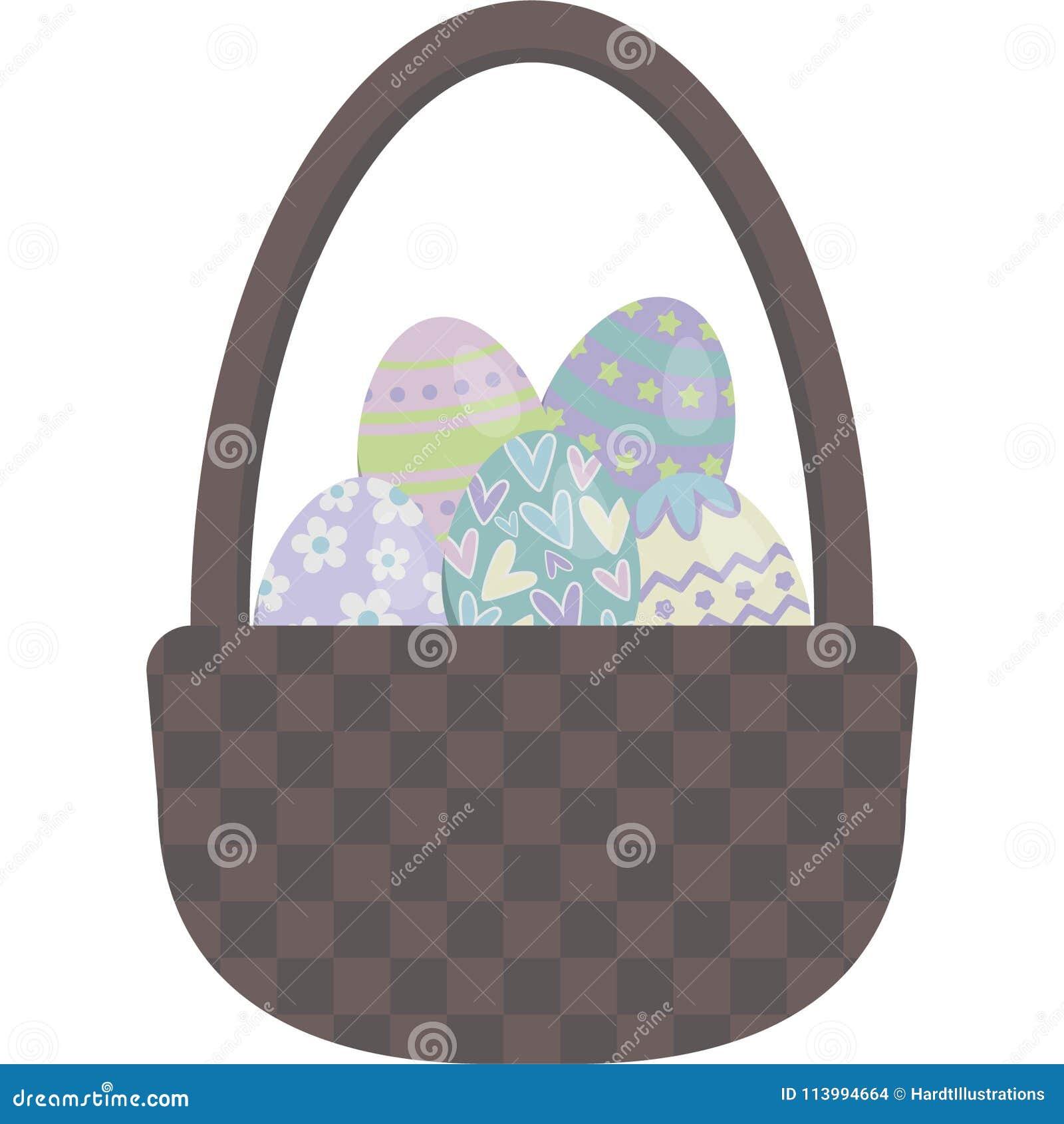 Ejemplo del vector de la cesta del huevo de Pascua