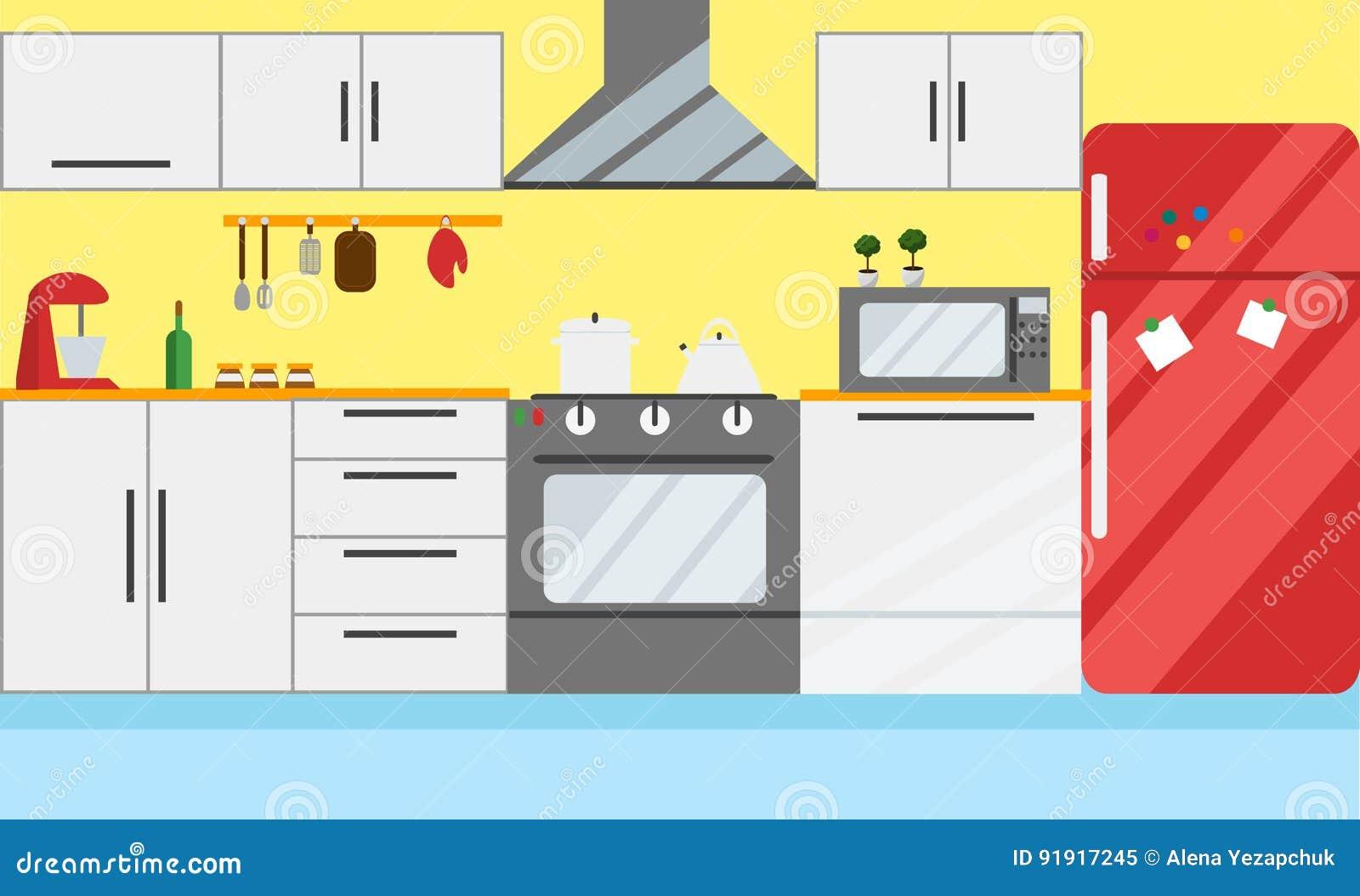 Ejemplo Del Vector De La Cocina Diseno Plano Ilustracion Del