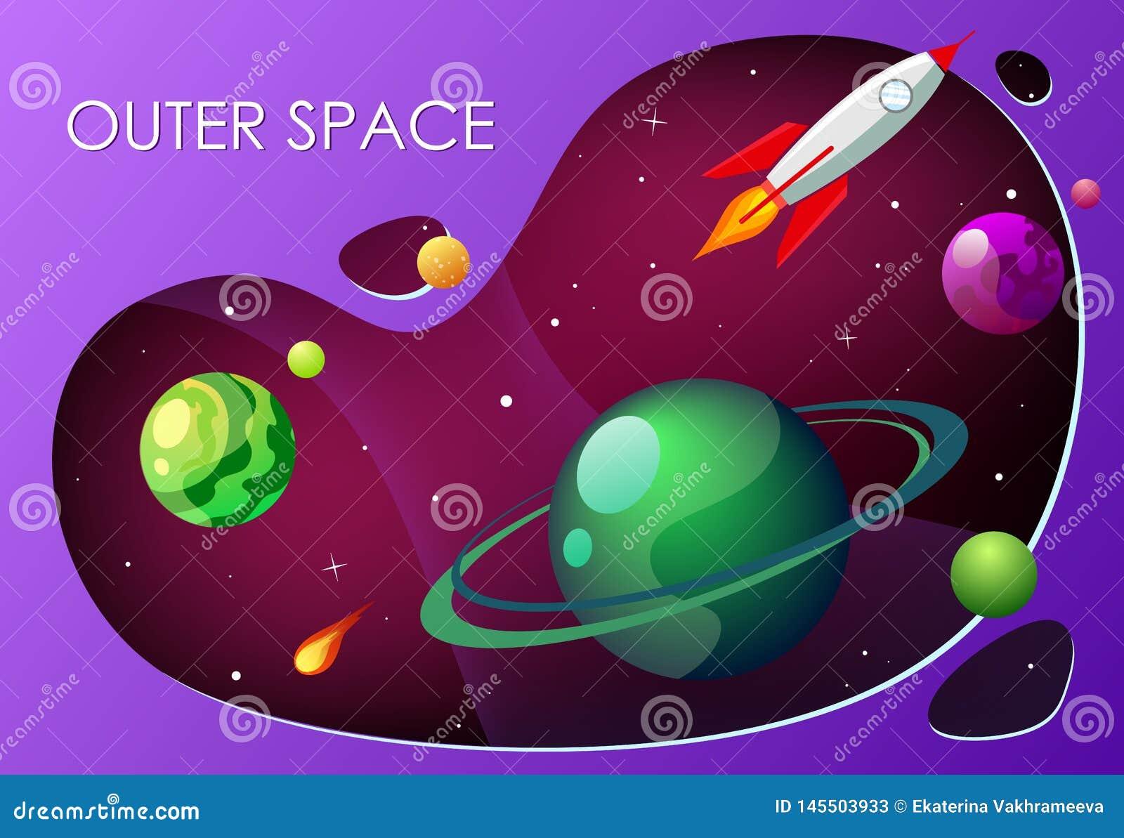 Ejemplo del vector de la historieta con el espacio exterior Galaxia del fondo del vector