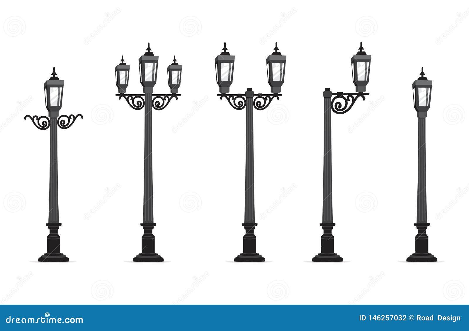 Ejemplo del vector de la lámpara de calle del jardín