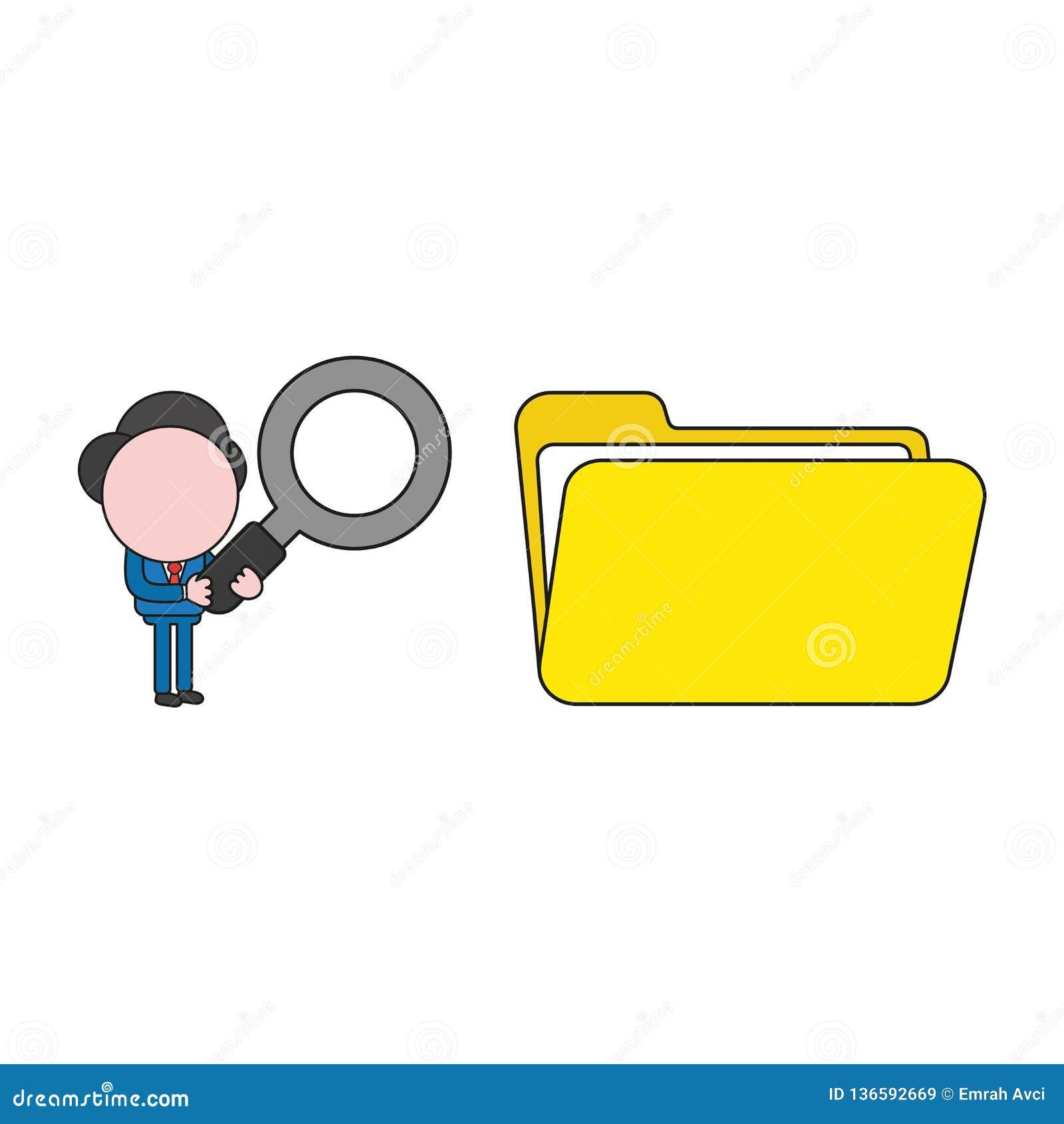 Ejemplo del vector de la lupa de la tenencia del carácter del hombre de negocios a la carpeta de archivos abierta Color y esquema