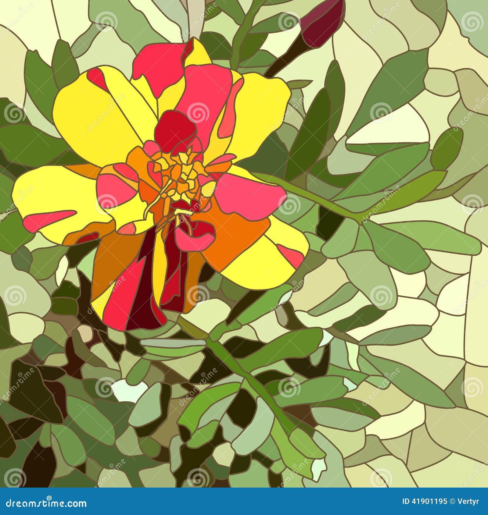 Ejemplo del vector de la maravilla del rojo de la flor