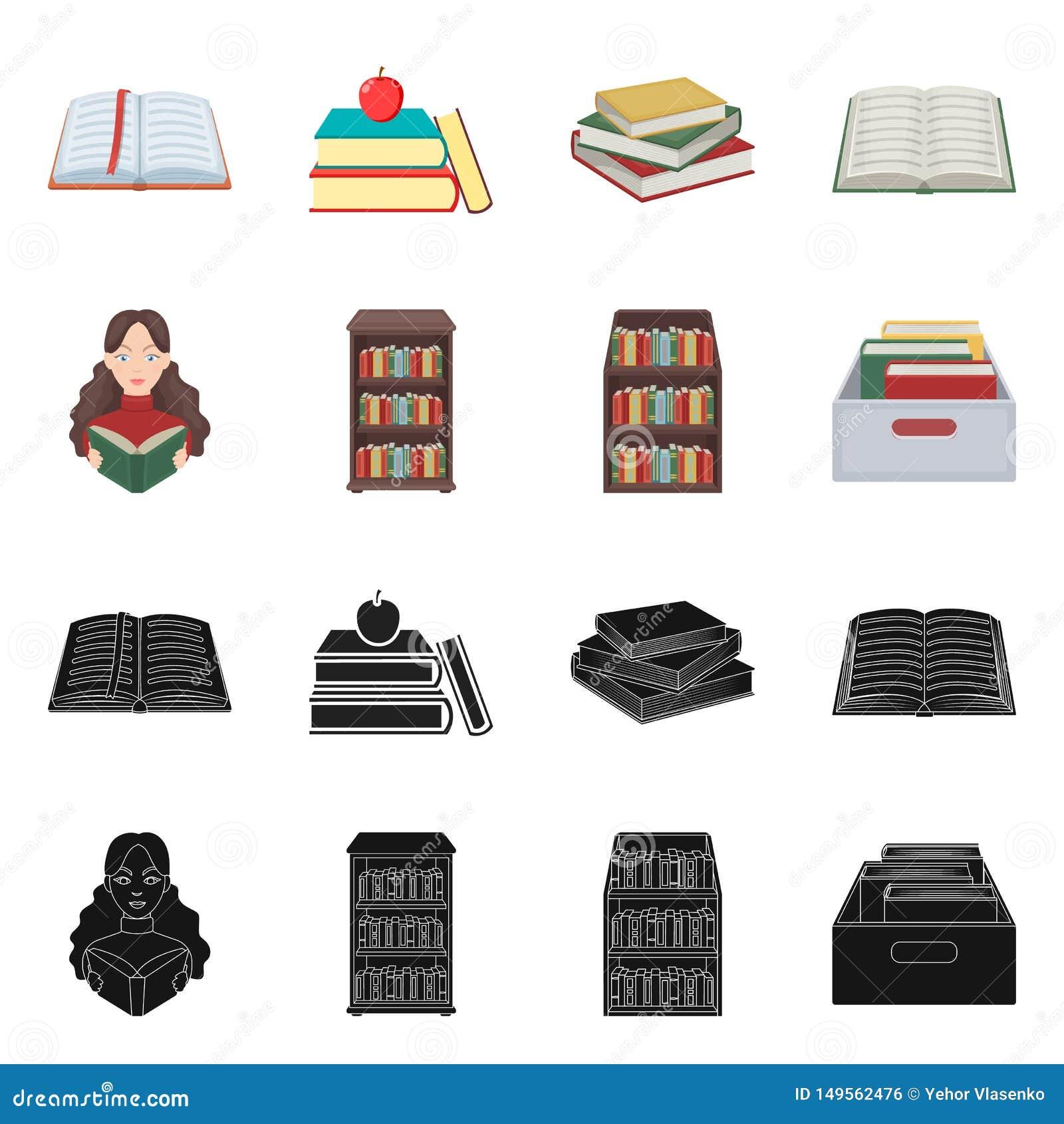 Ejemplo del vector de la muestra de la biblioteca y del libro de texto Colecci?n de icono del vector de la biblioteca y de la esc