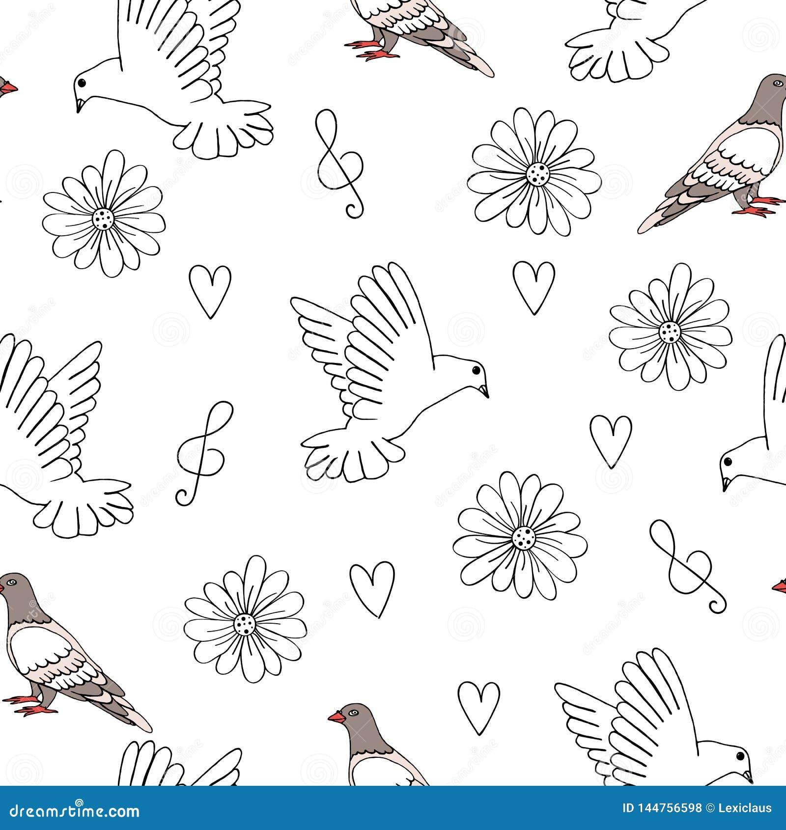 Ejemplo del vector de la paloma y de la paloma con los corazones, las flores y la clave de sol