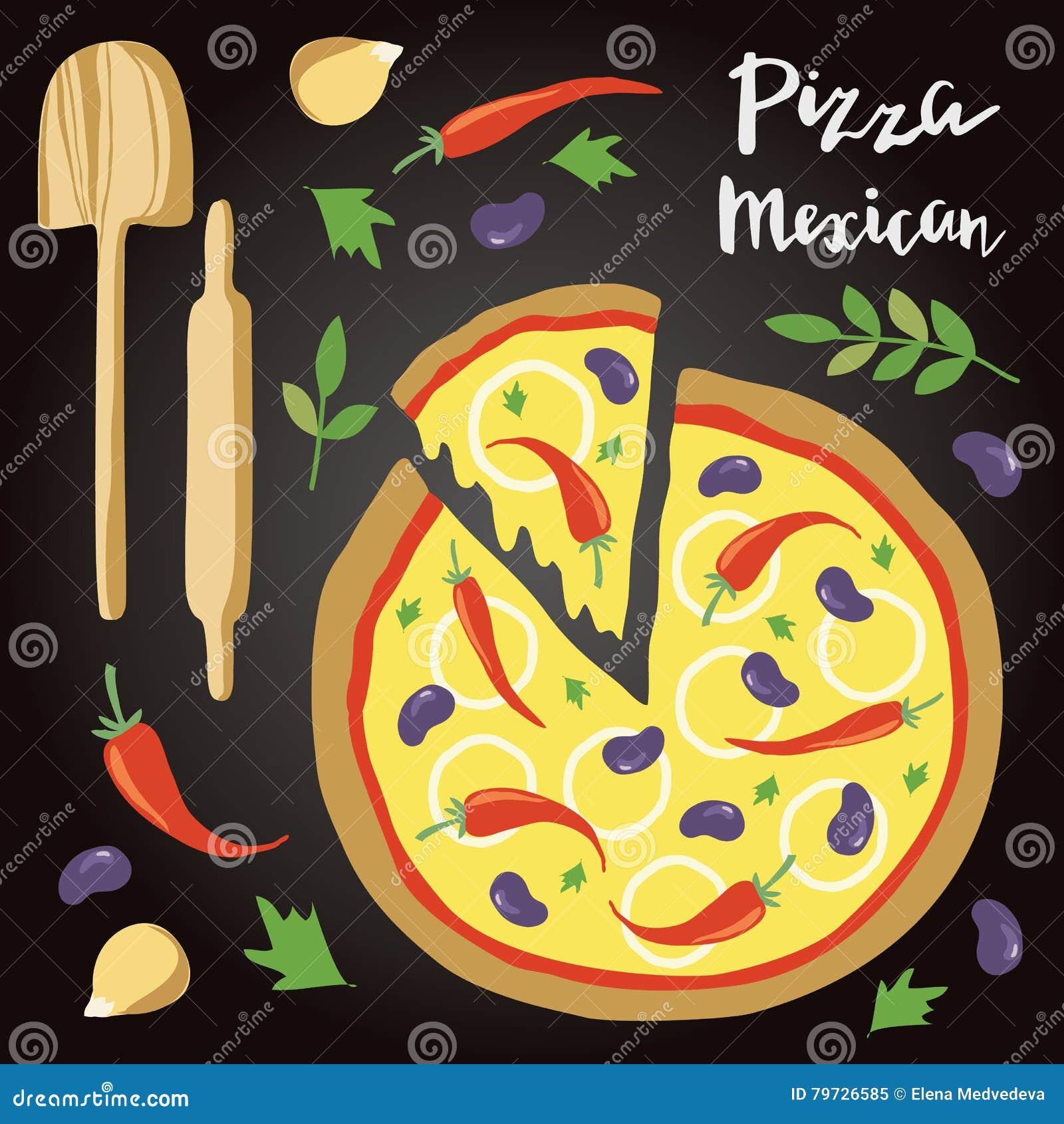 Ejemplo del vector de la pizza mexicana con los ingredientes