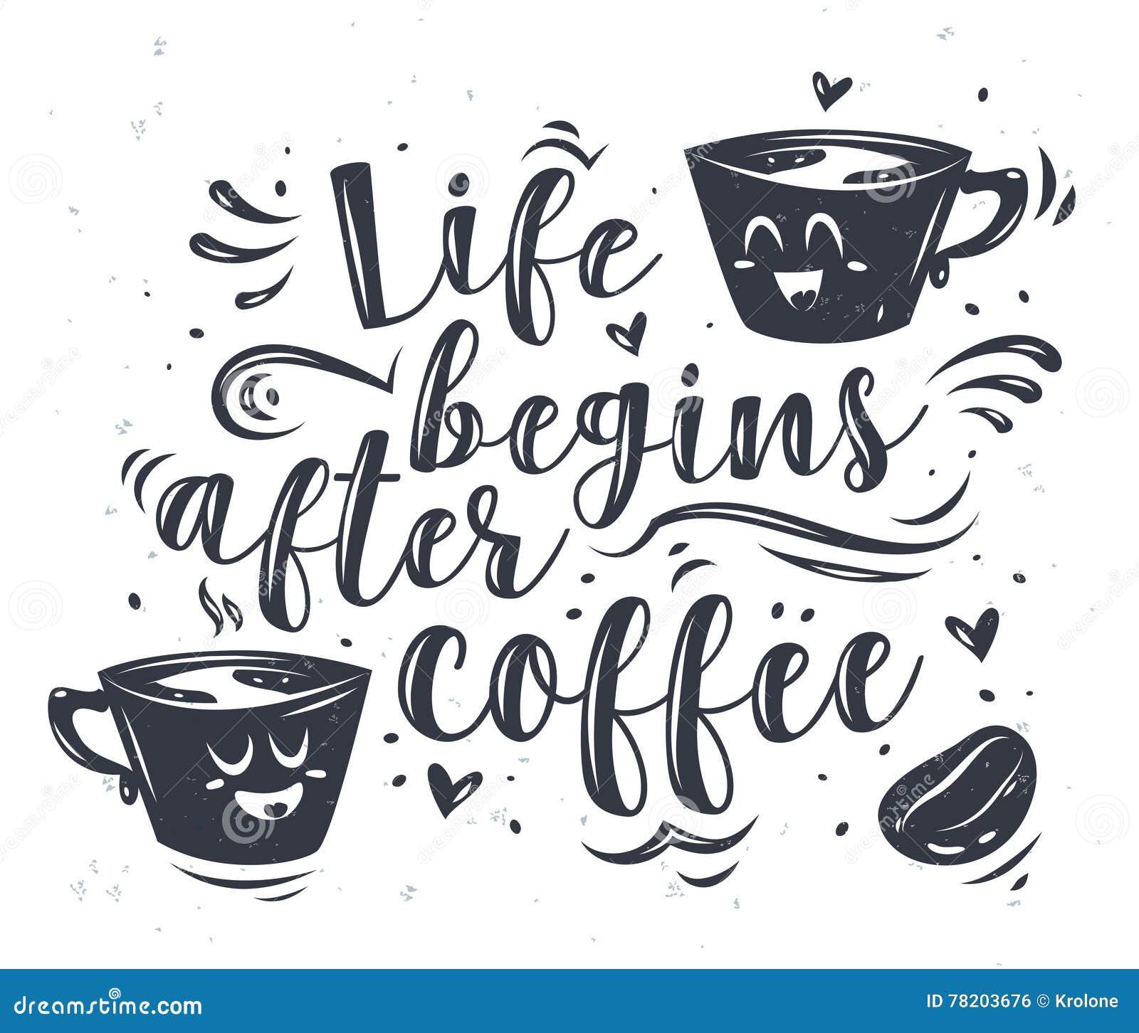 Ejemplo Del Vector De La Taza De Café Con Las Letras Ilustración del ...