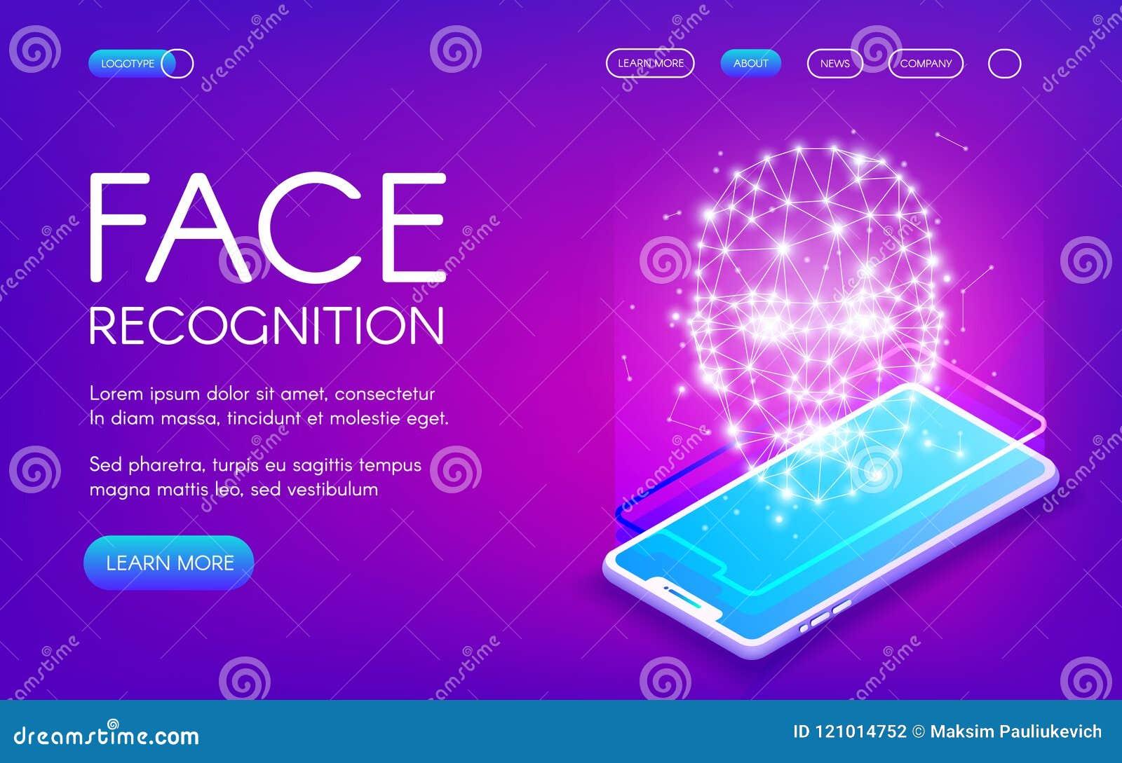 Ejemplo del vector de la tecnología del reconocimiento de cara
