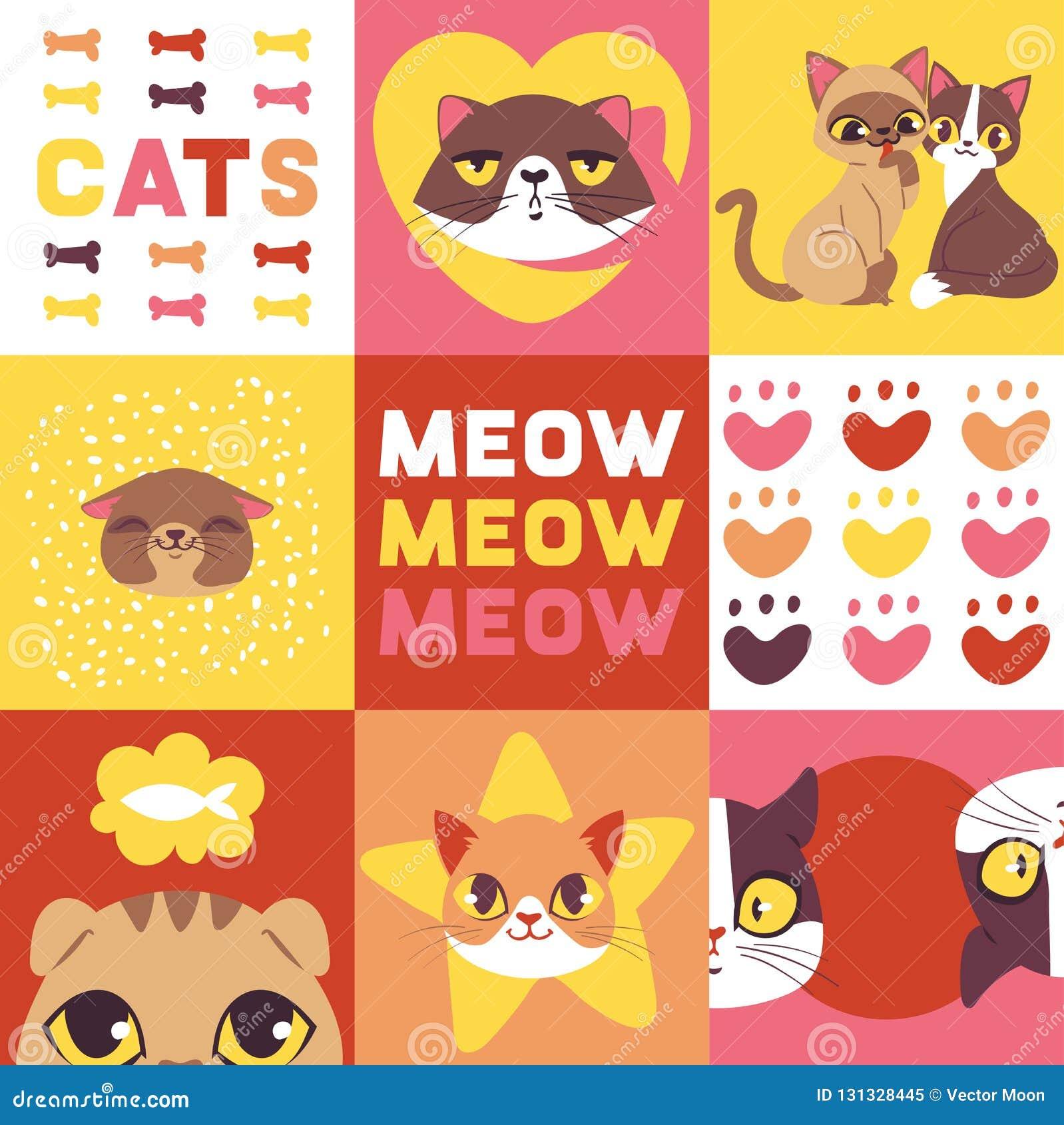 Ejemplo Del Vector De Las Cabezas De Los Gatos Caras Animales Lindas