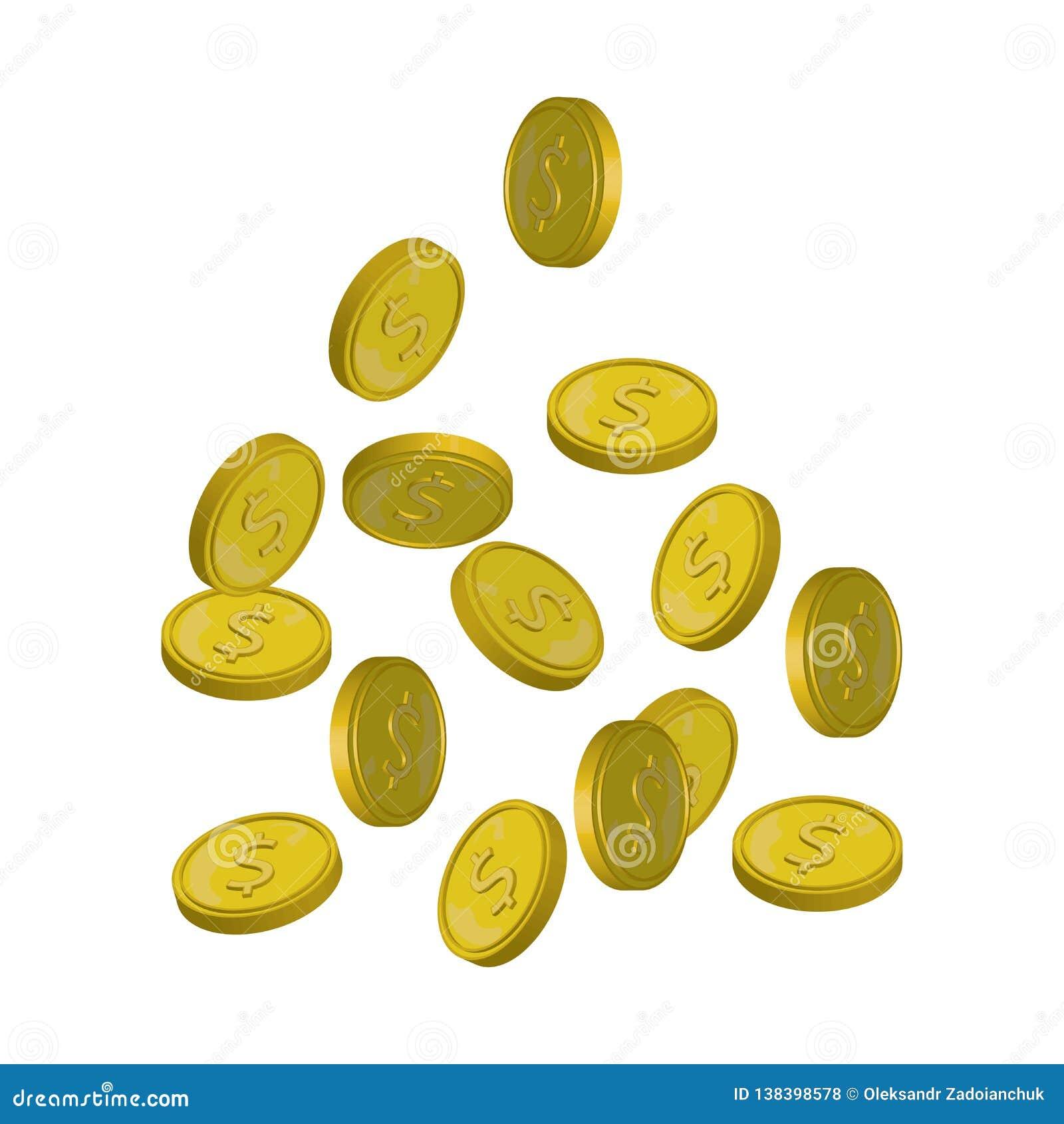 Ejemplo del vector de las monedas que cae, dinero que cae, monedas de oro que vuelan, monedas abstractas que caen el plano modern