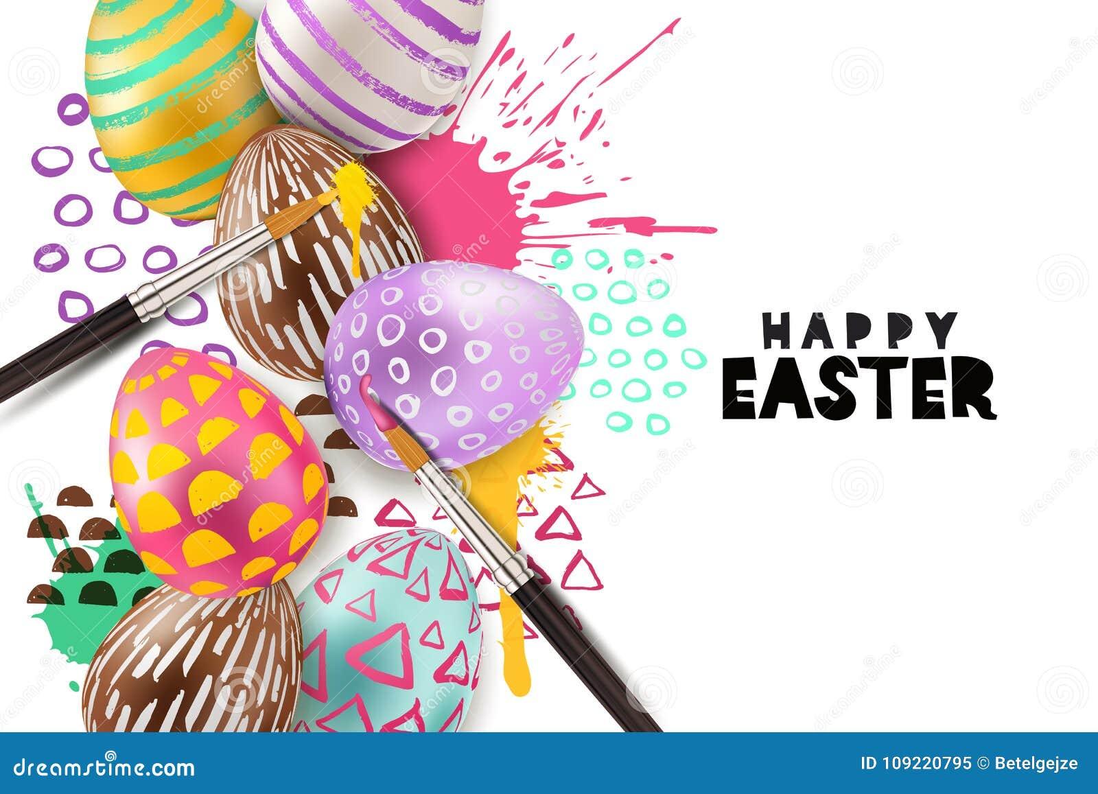 Ejemplo del vector de los huevos de Pascua de la pintura el huevo decorativo 3d en acuarela salpica el fondo Concepto del arte y