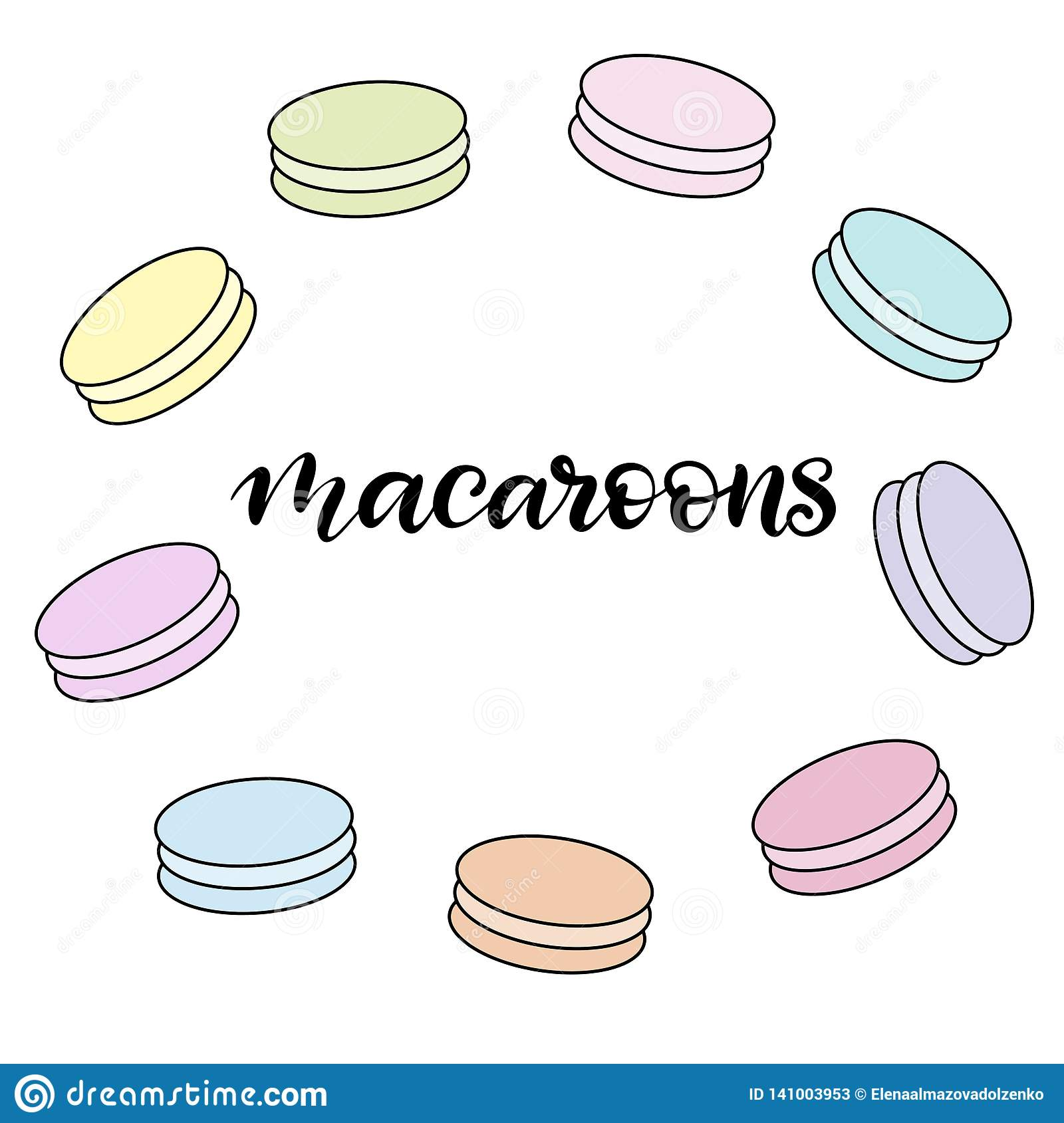 Ejemplo del vector de los macarrones con las letras