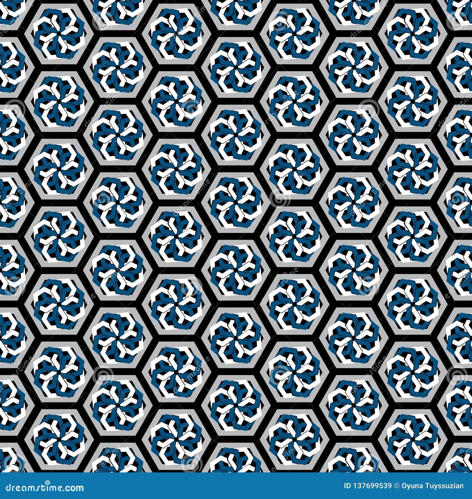 Ejemplo del vector de los modelos inconsútiles hexagonales de la repetición