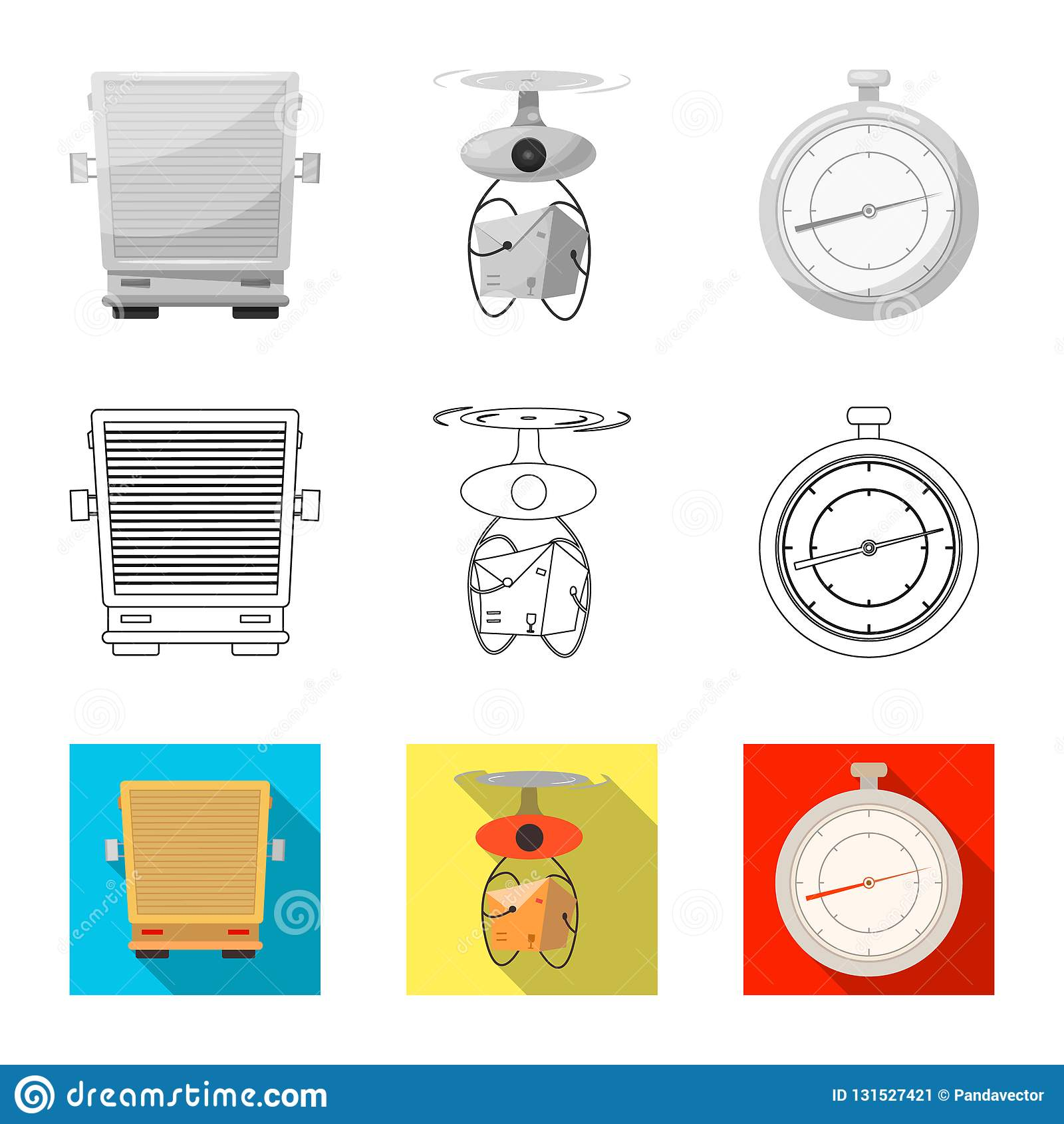 Ejemplo del vector de mercancías y del icono del cargo Colección de mercancías y de símbolo común del almacén para el web